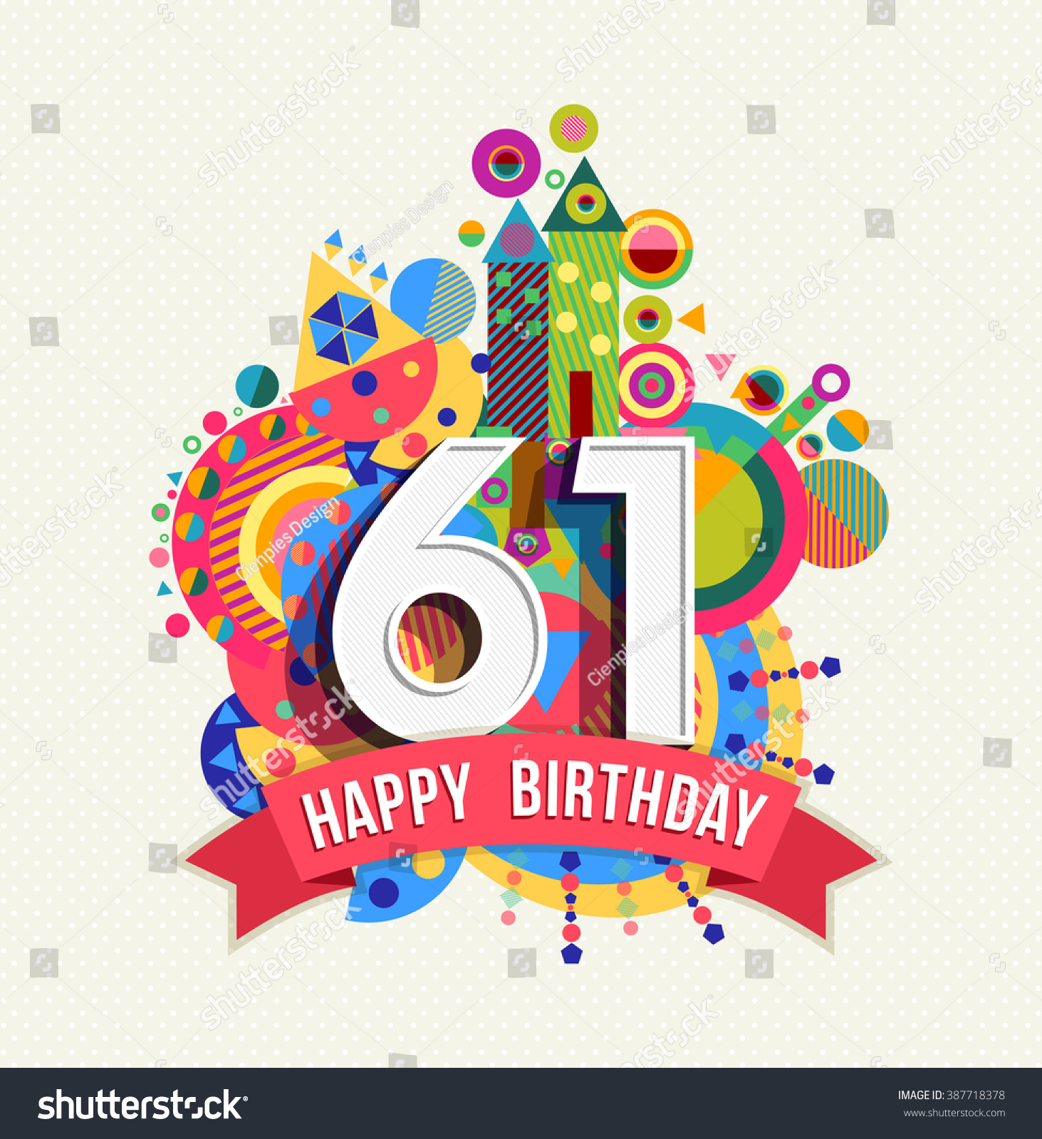 Happy Birthday Sixty One 61 Year Stock Vector 387718378
