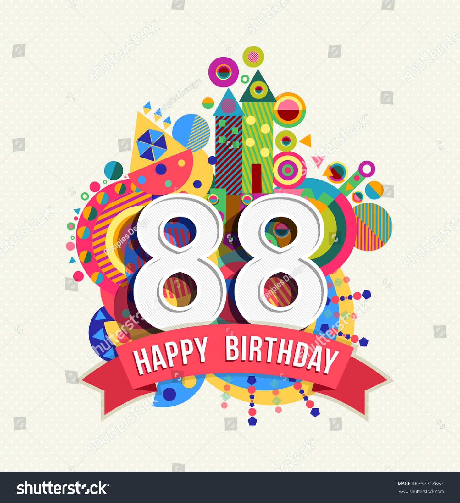 Happy Birthday Eighty Eight 88 Year Fun Celebration Anniversary Greeting Card With Number Text
