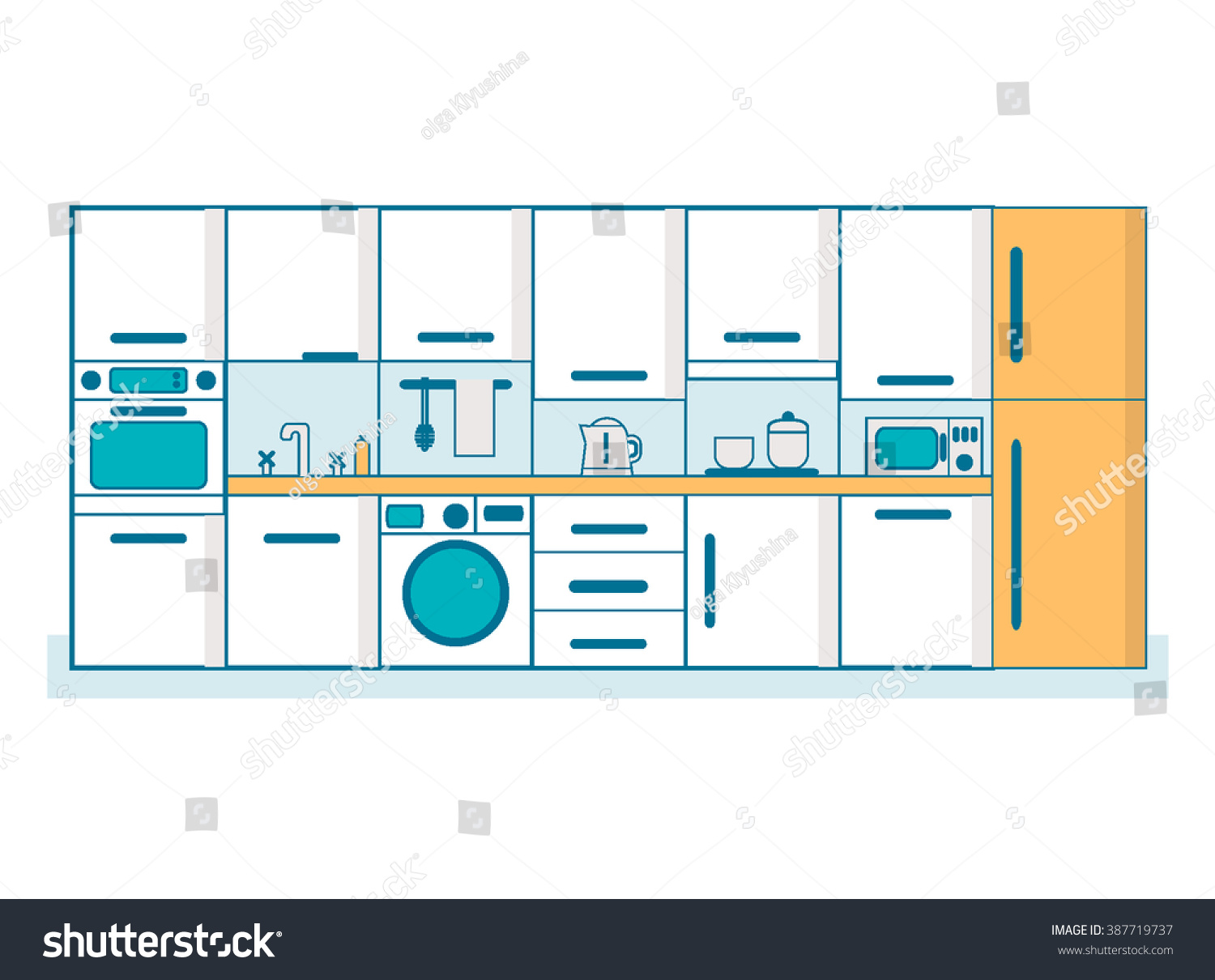 Kitchen Linear Flat Interior Furniture Table Stock Vector 387719737 ...