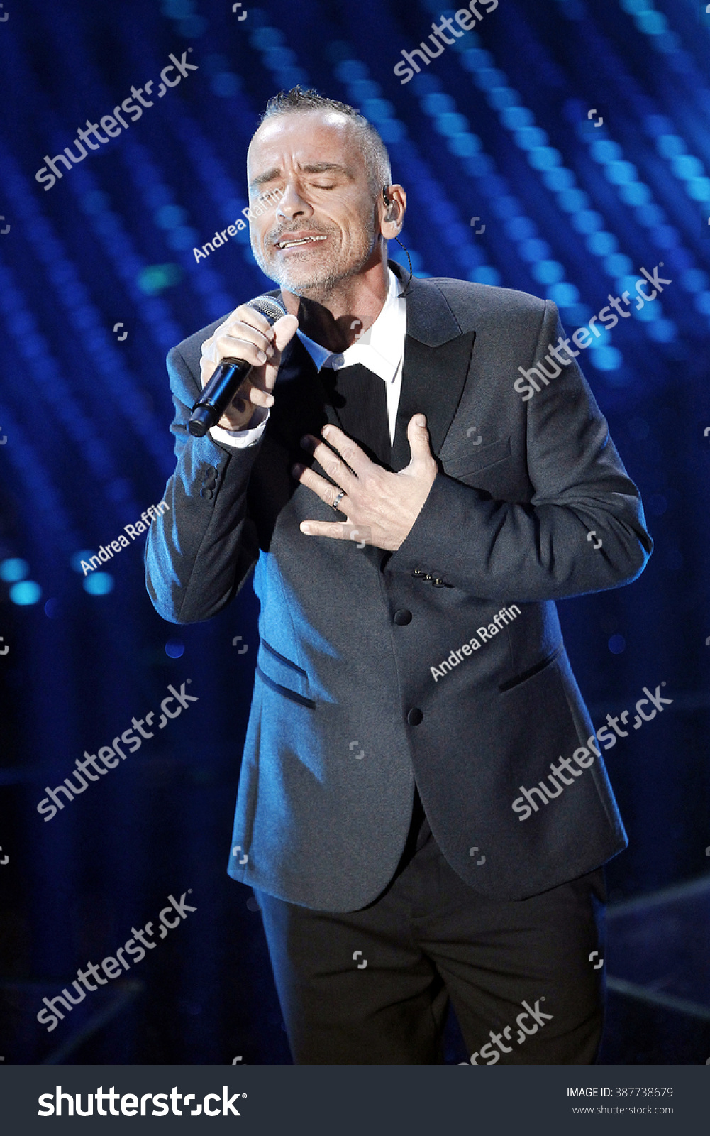 Sanremo Italy February 10 Eros Ramazzotti Performs During The Second Night Of Sanremo