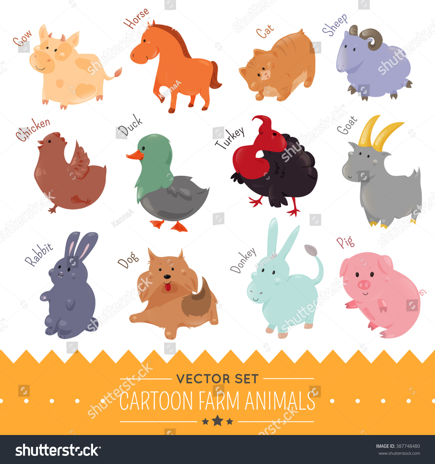 Agri cultures project logo duckdog design - Set Of Cute Cartoon Farm Animal Isolate On White Background Vector Agriculture Funny Flat