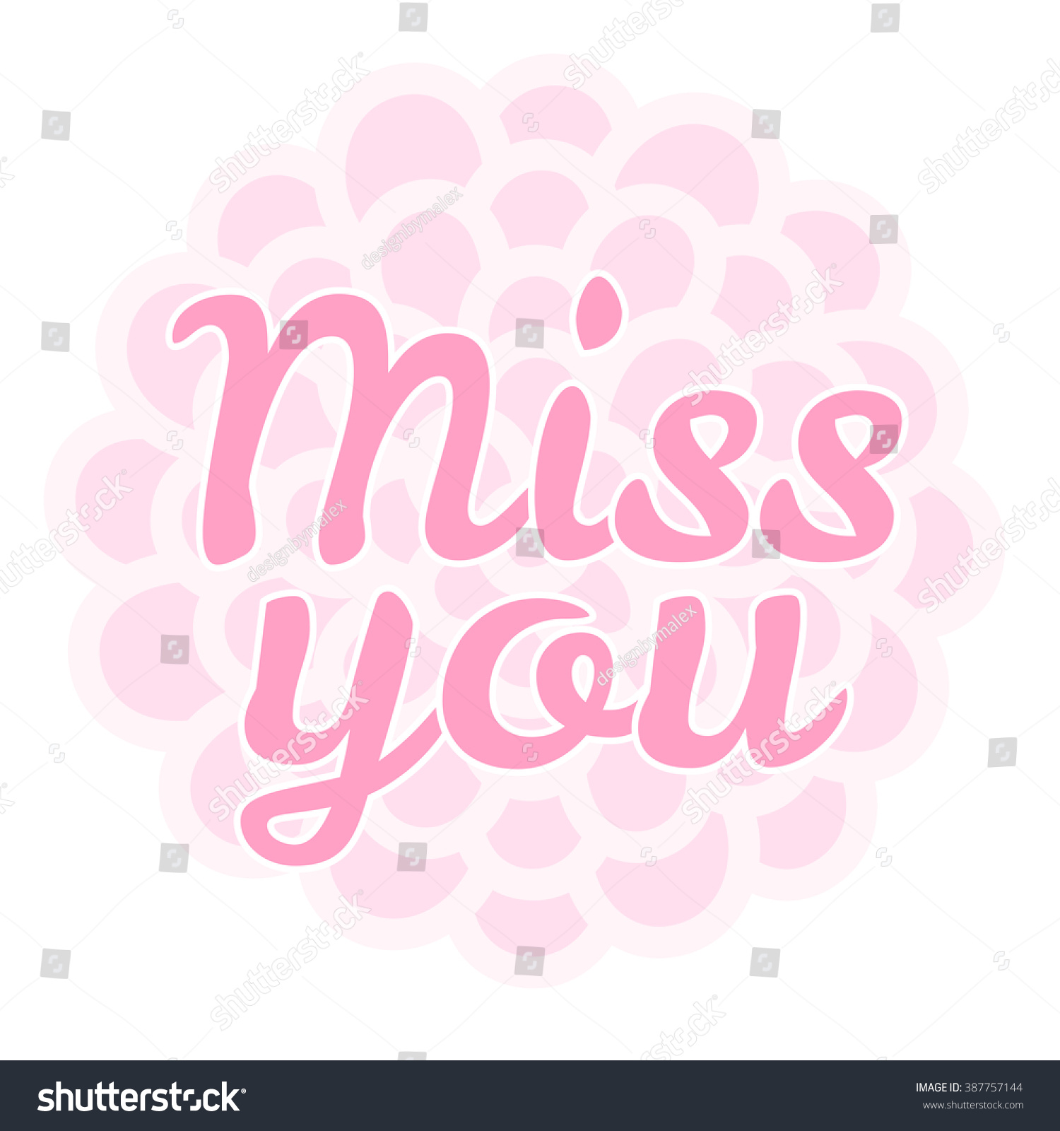 Miss You Vector Illustration Greeting Card Stock Vector Royalty