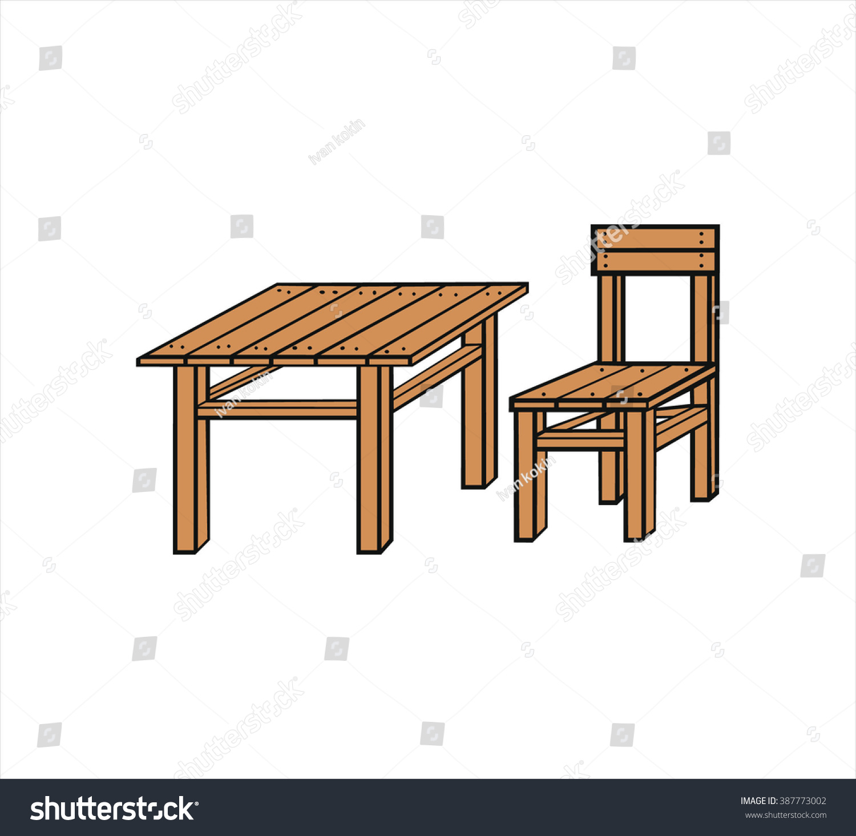Isolated wooden table chair cartoon vector