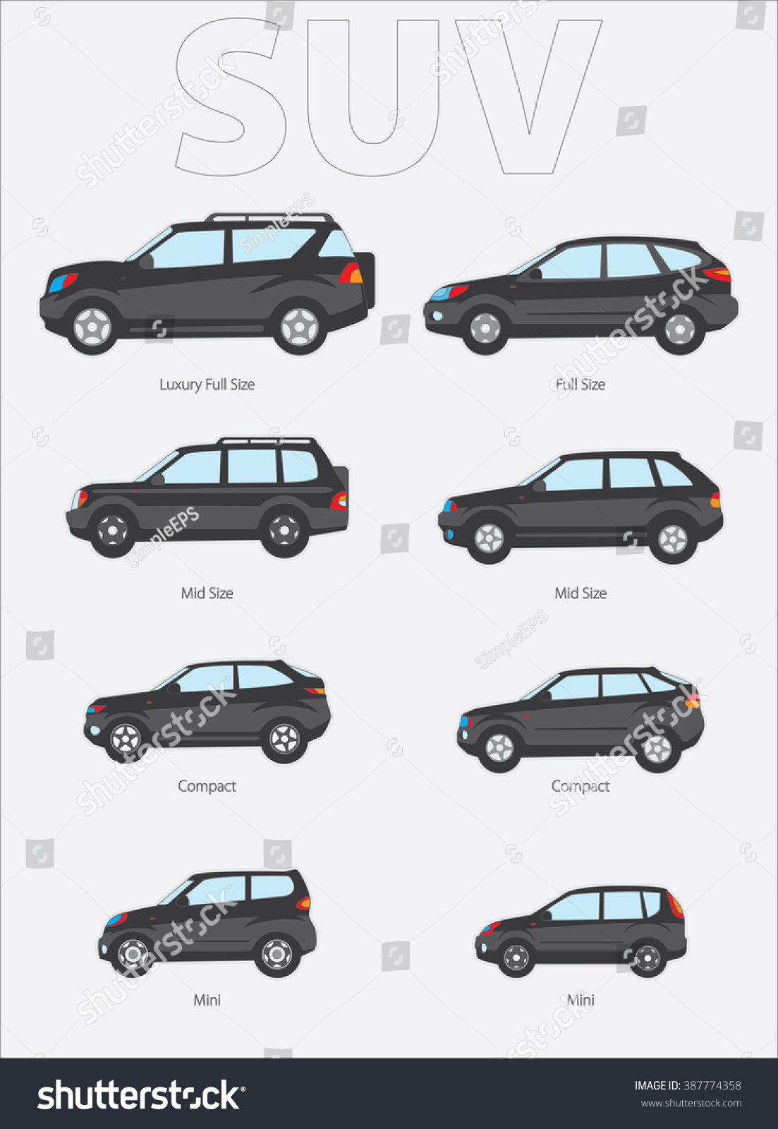 Vector Illustration Types Cars Variants Car Stock Vector