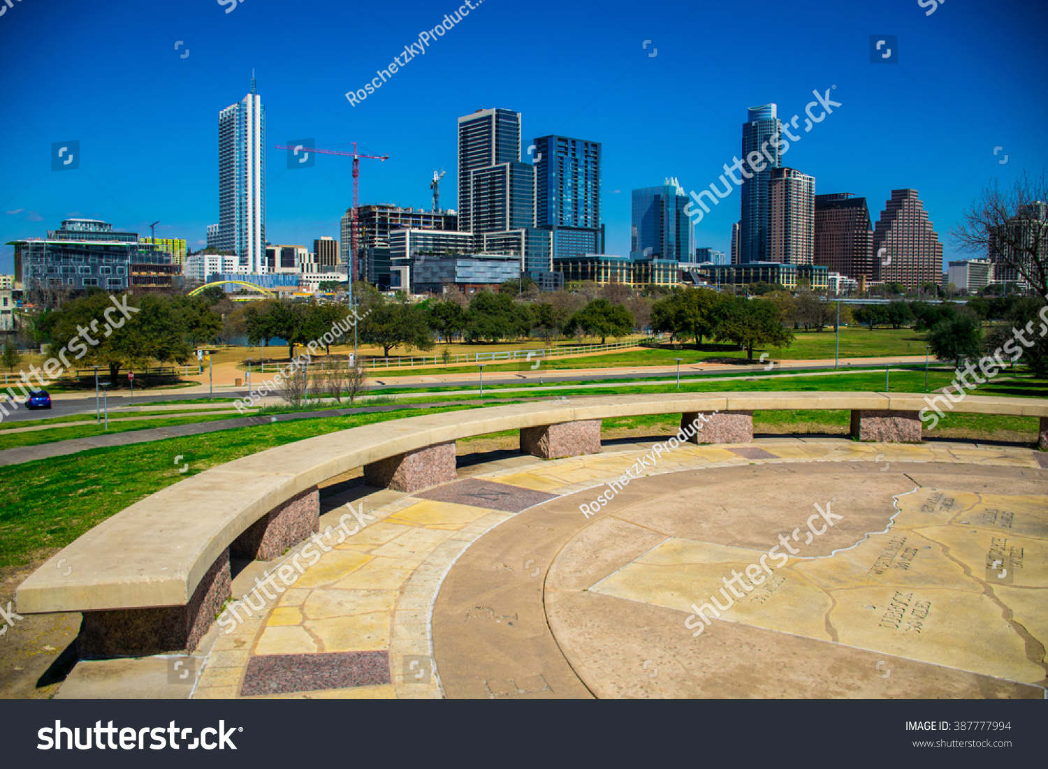 Sunny day austin texas on top stock photo 387777994 shutterstock sunny day austin texas on top of capital hill butler park circle hilltop with texas map buycottarizona Images