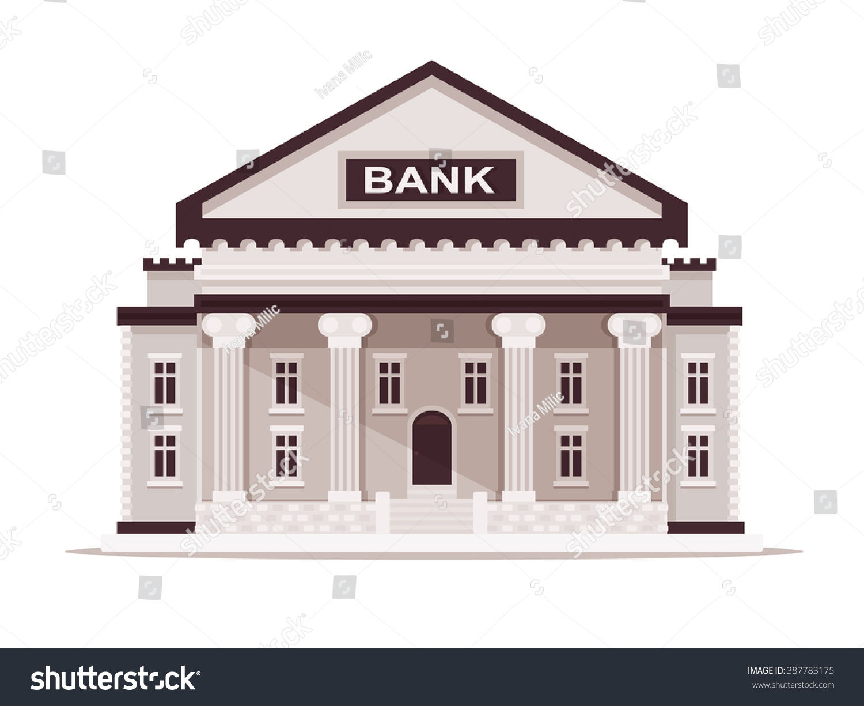 Bank building vector illustration flat design stock vector for Bank designs architecture
