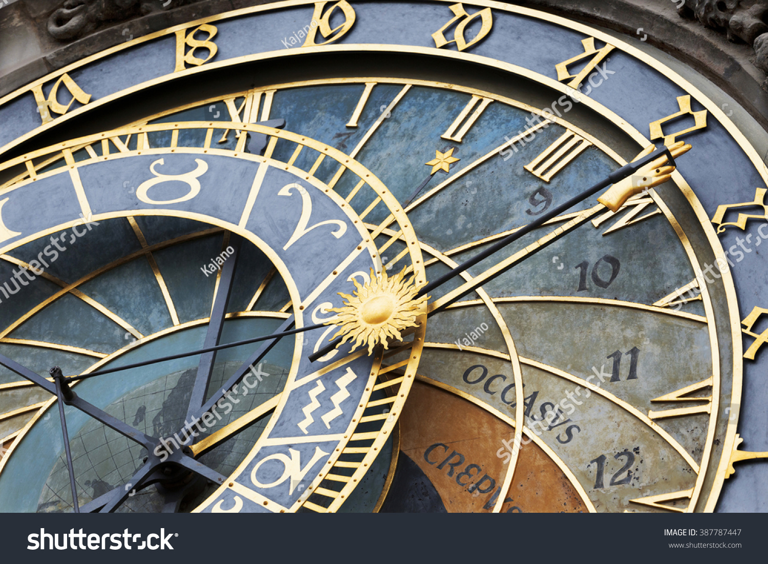 Detail of the historical medieval astronomical Clock in Prague on Old Town Hall Czech Republic