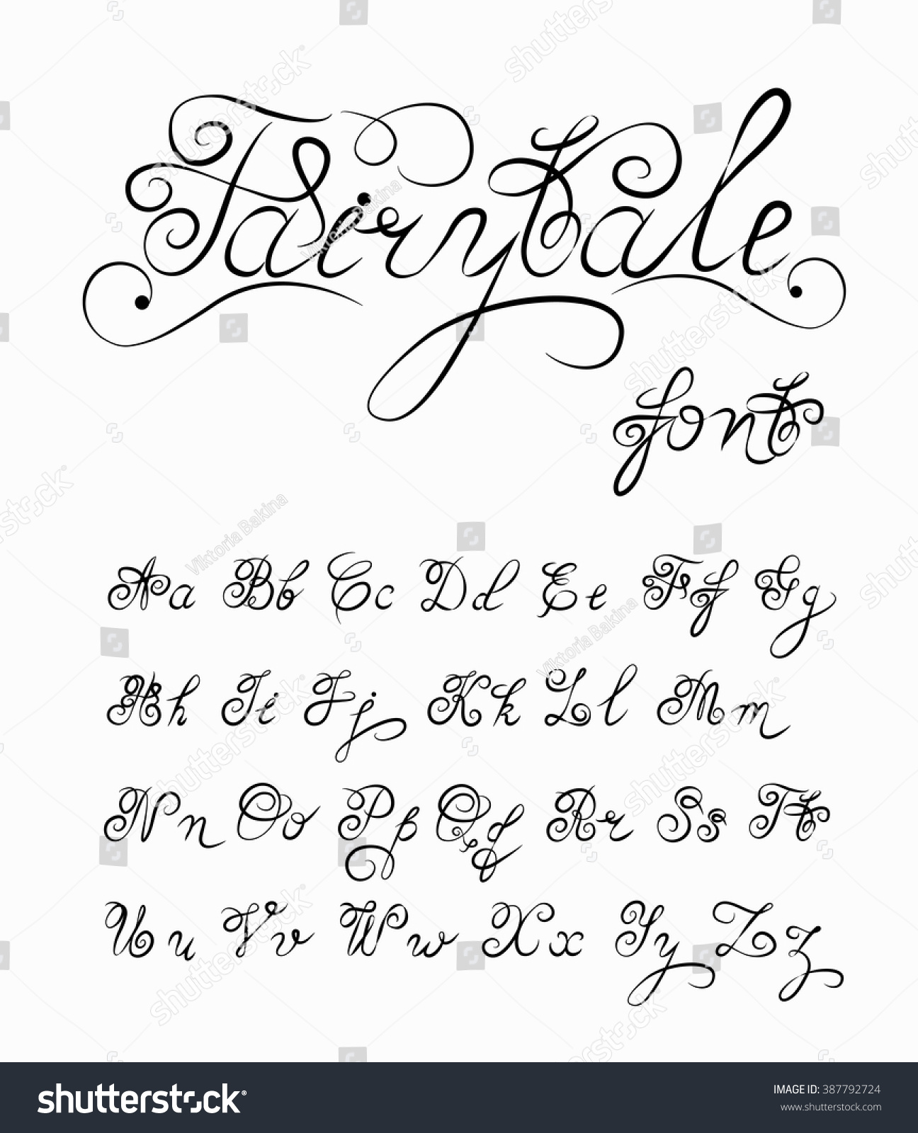 Fairytale vector hand drawn calligraphic font stock