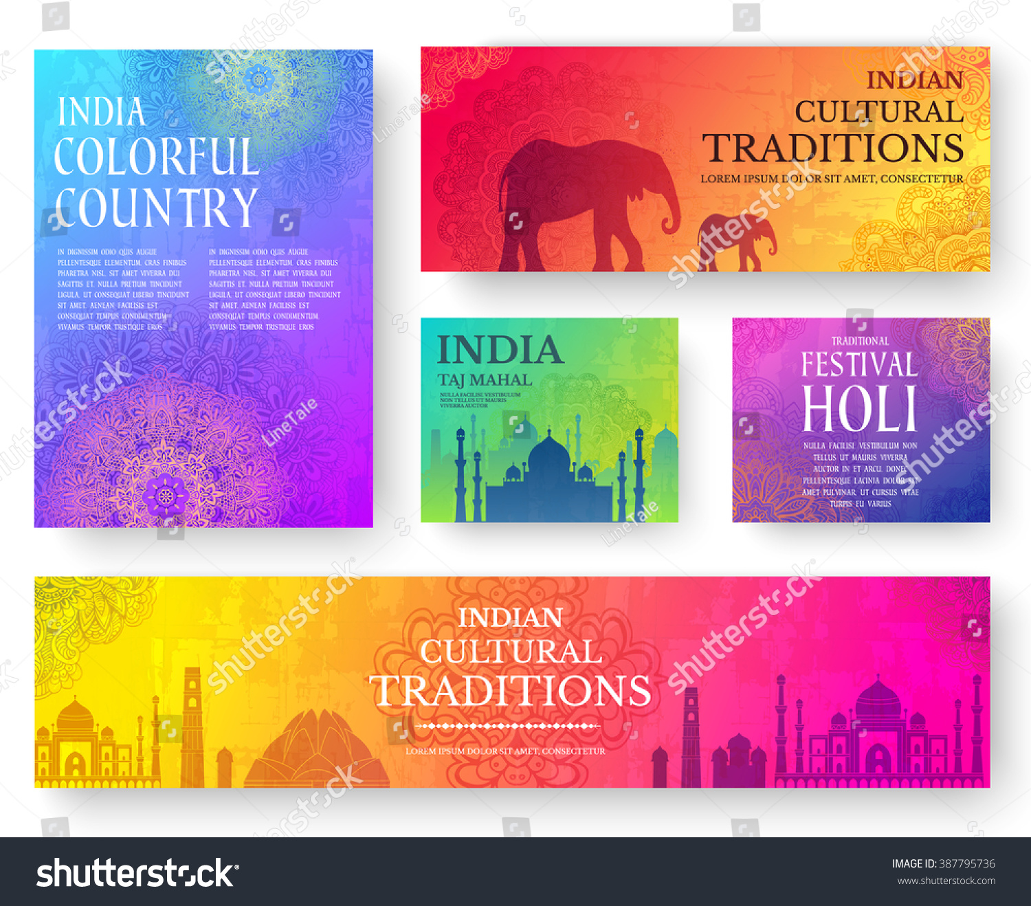 Set Indian Country Ornament Illustration Concept Stock Vector ...