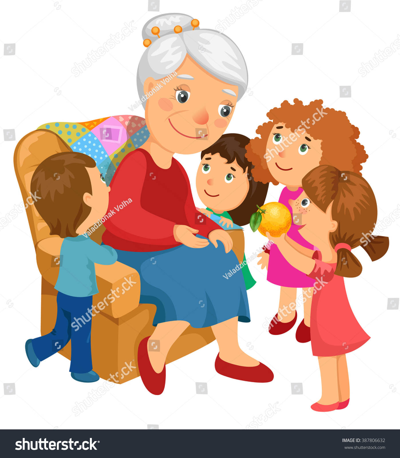grandmother sitting chair grandchildren came visit stock vector