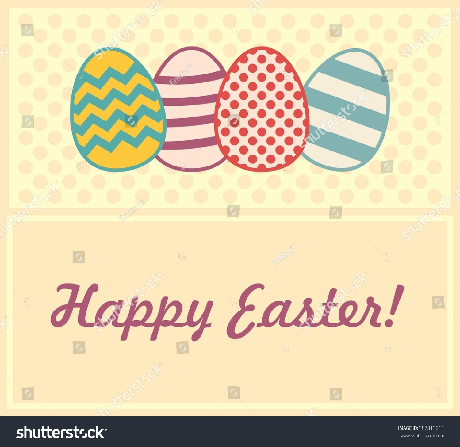 Easter egg banner gift card dotted stock vector 387813211 the easter egg banner gift card with dotted background letters and eggs with different negle Choice Image