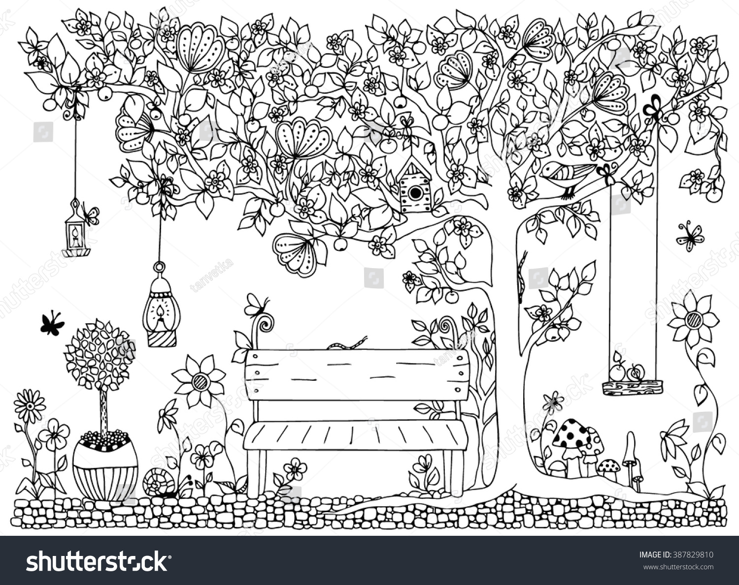 Coloring pictures of flowers and trees - Vector Illustration Zentangl Park Garden Spring A Bench A Tree With Apples