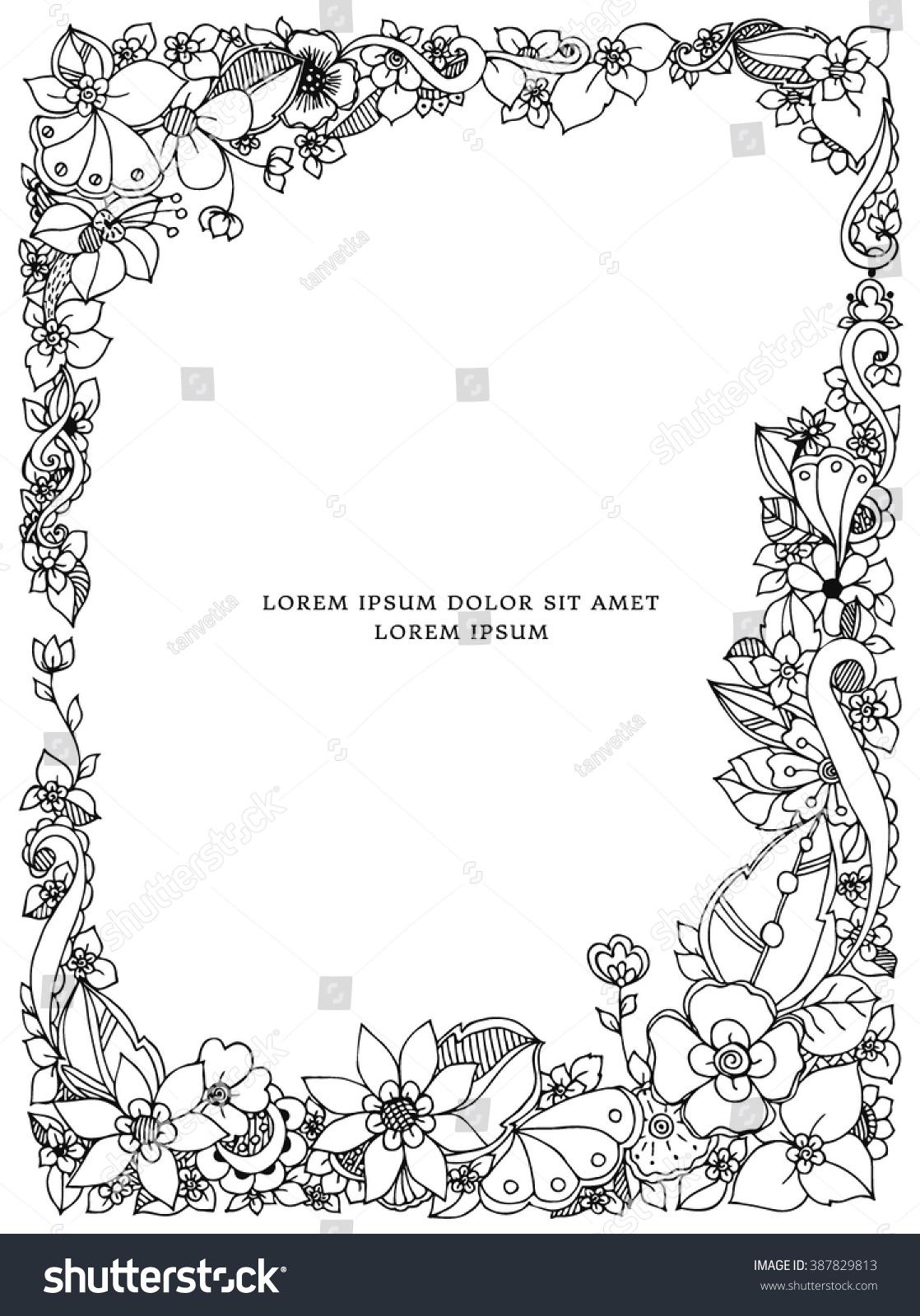 Vetor Stock De Ilustracao Vetorial De Moldura Floral Zentangle