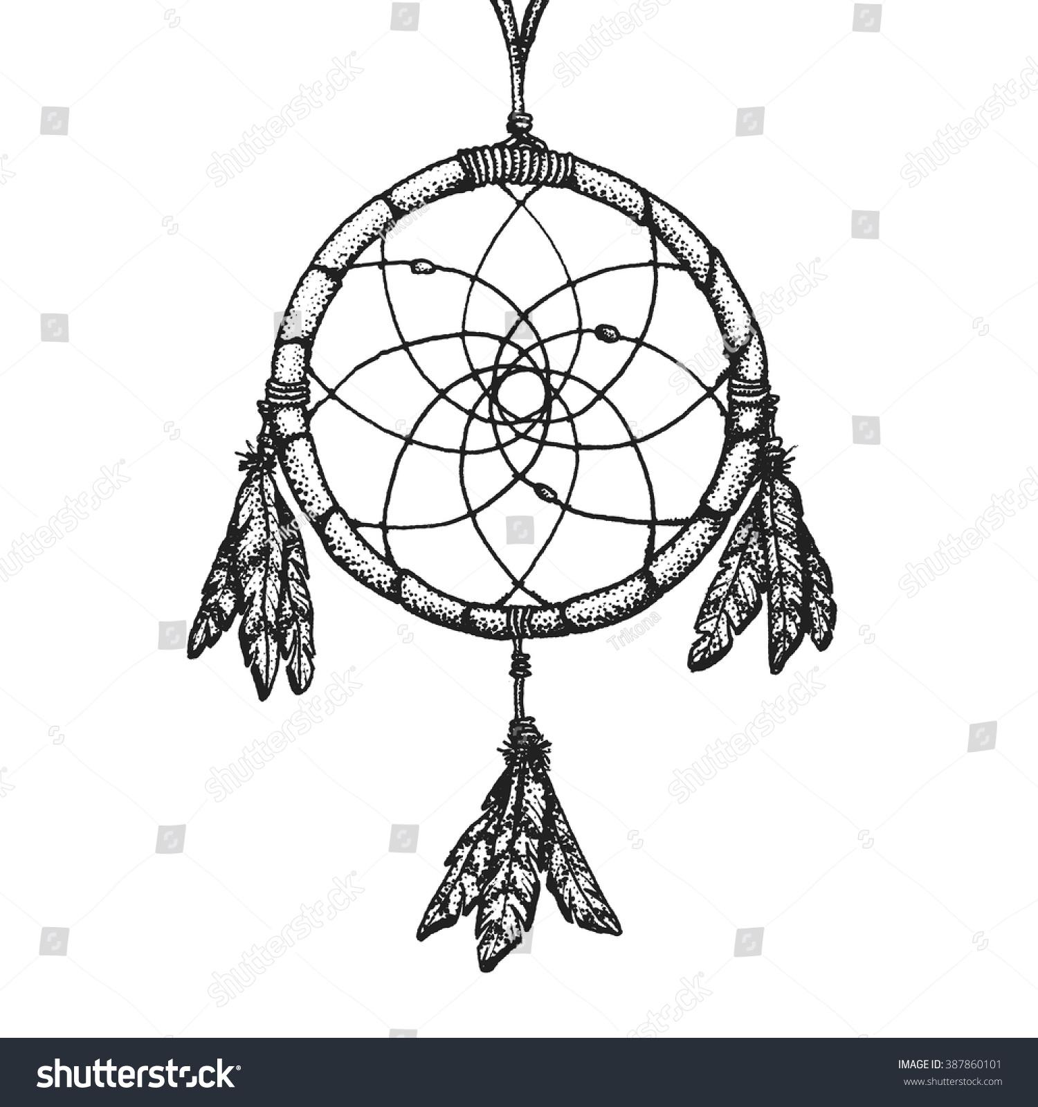 Color art dreamcatcher - Vector Black Color Monochrome Dotted Art Retro Tattoo Gravure Style Native American Dream Catcher Isolated Decorative