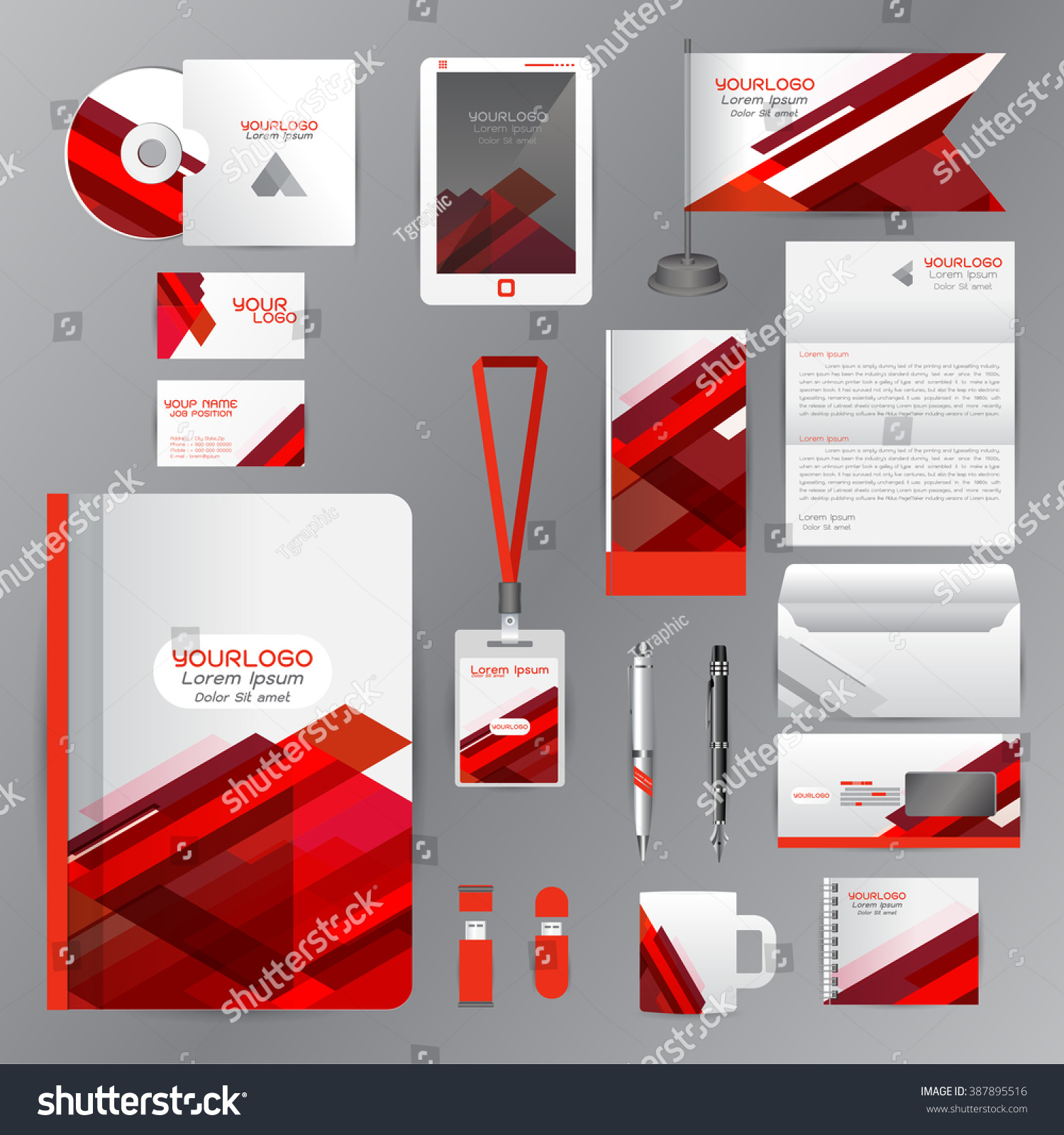 White Identity Template Red Origami Elements Stock Vector 387895516 ...