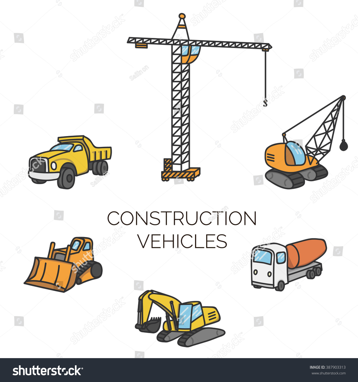 construction vehicles cartoon vector illustration stock vector