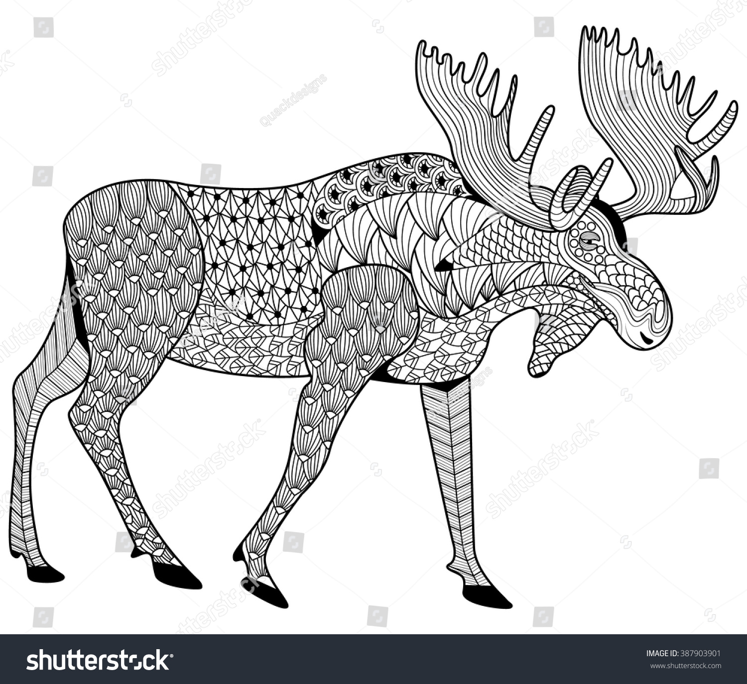moose coloring page adults zen tangle stock vector 387903901