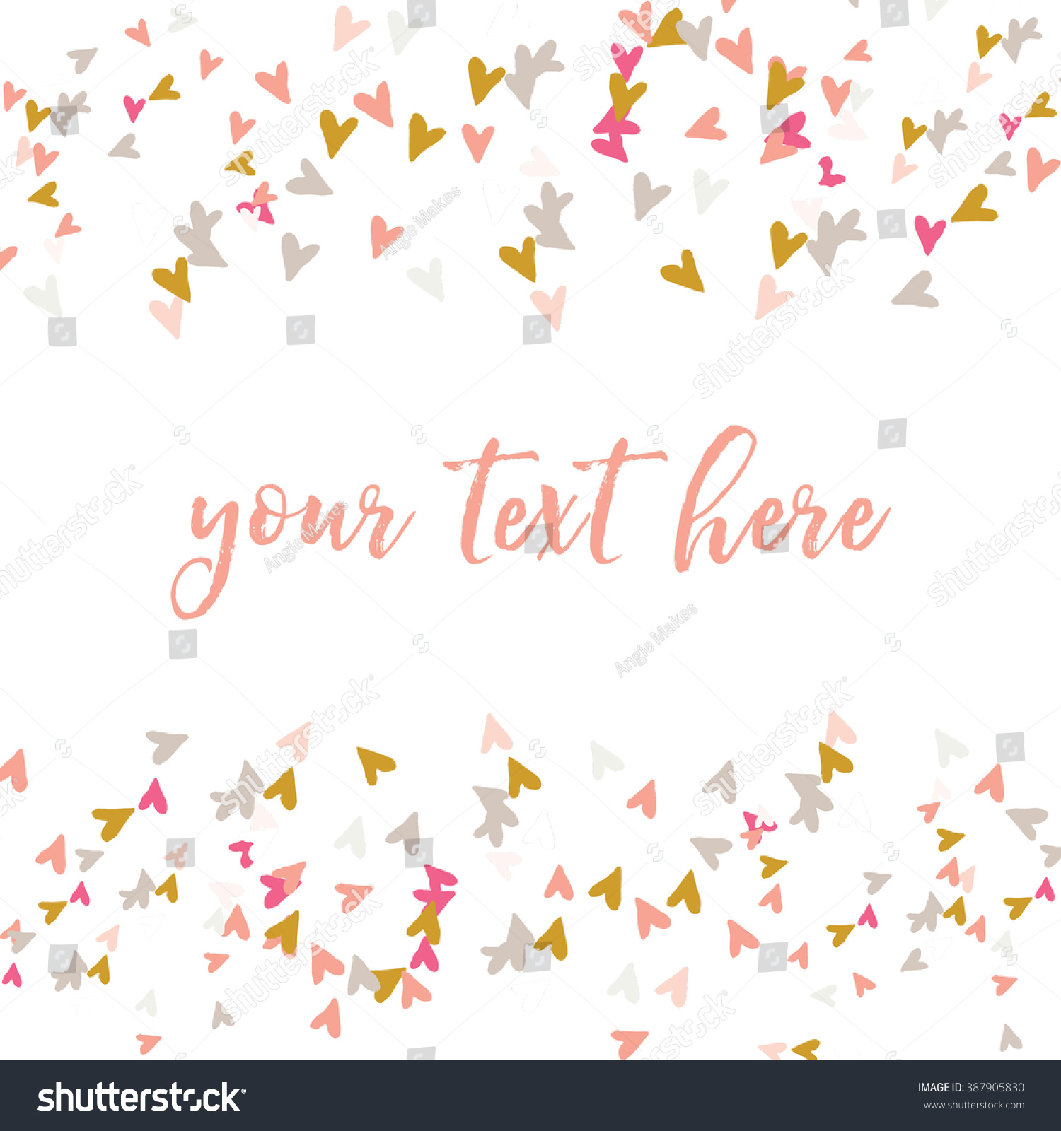 Pink And Gold Confetti Hearts Vector Border Background
