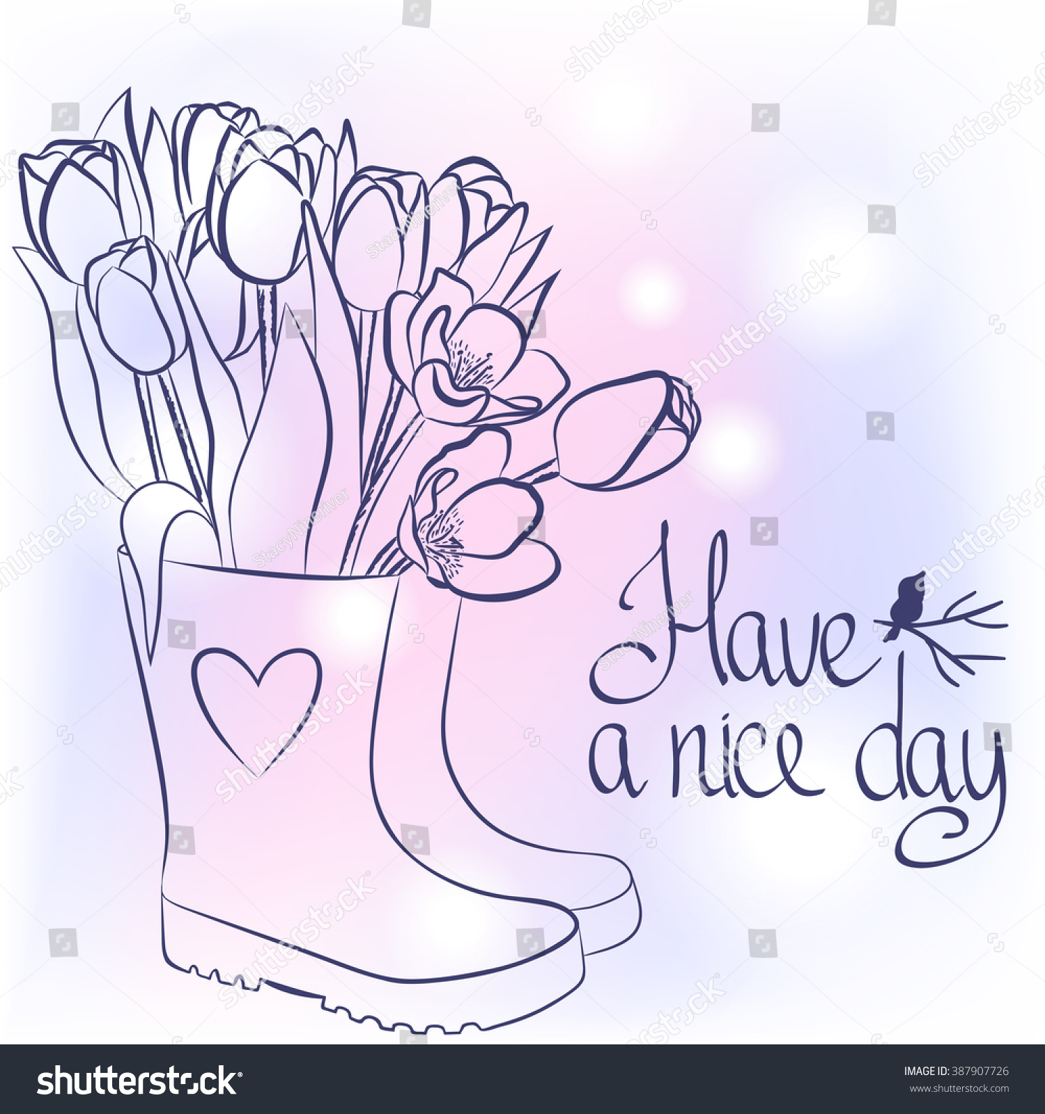 Beautiful Spring Flowers Rubber Boots Hand Stock Vector Royalty