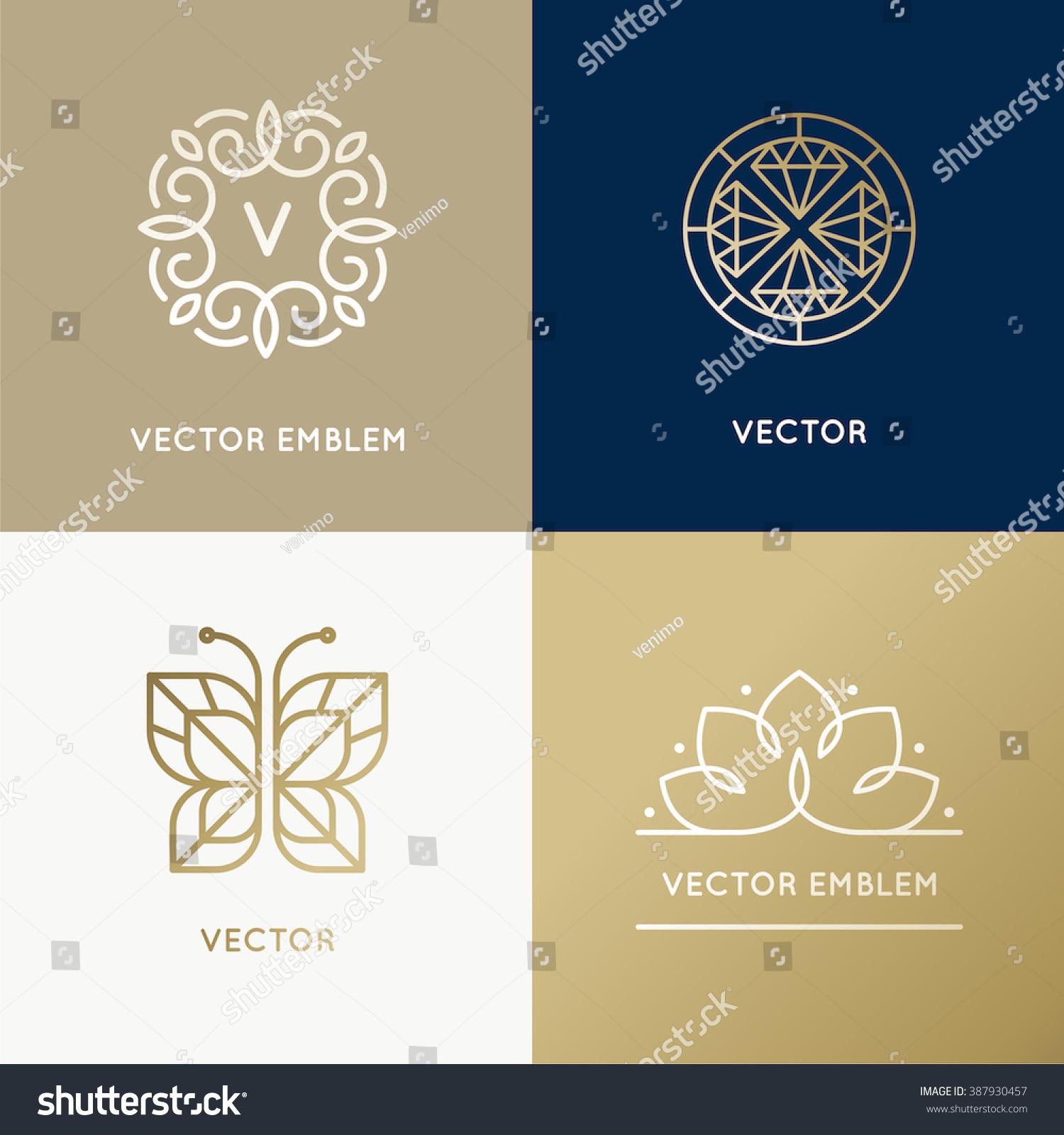 Butterfly Jewelry Logo Linear Vector Icon:  Vector Abstract Modern Logo Design Templates Stock Vector