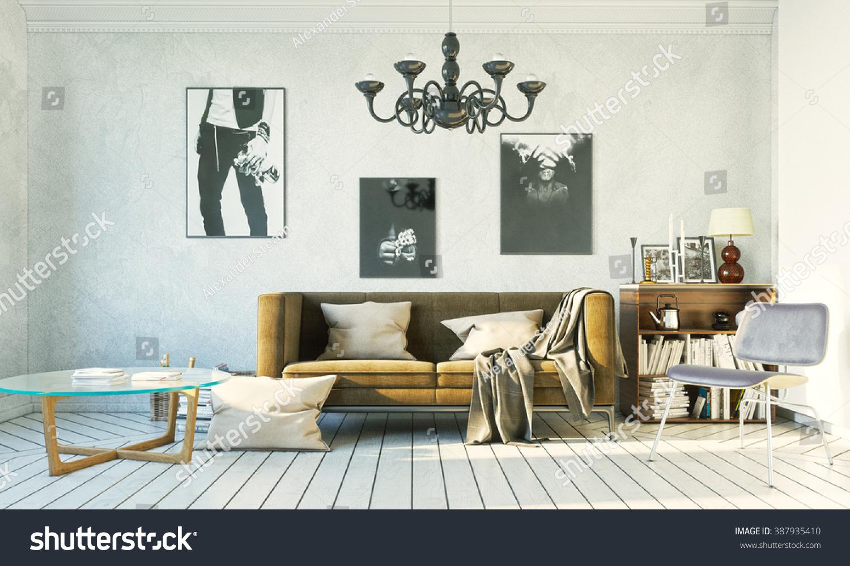 3 D Rendering Living Room Loft Style Stock Illustration 387935410 ...