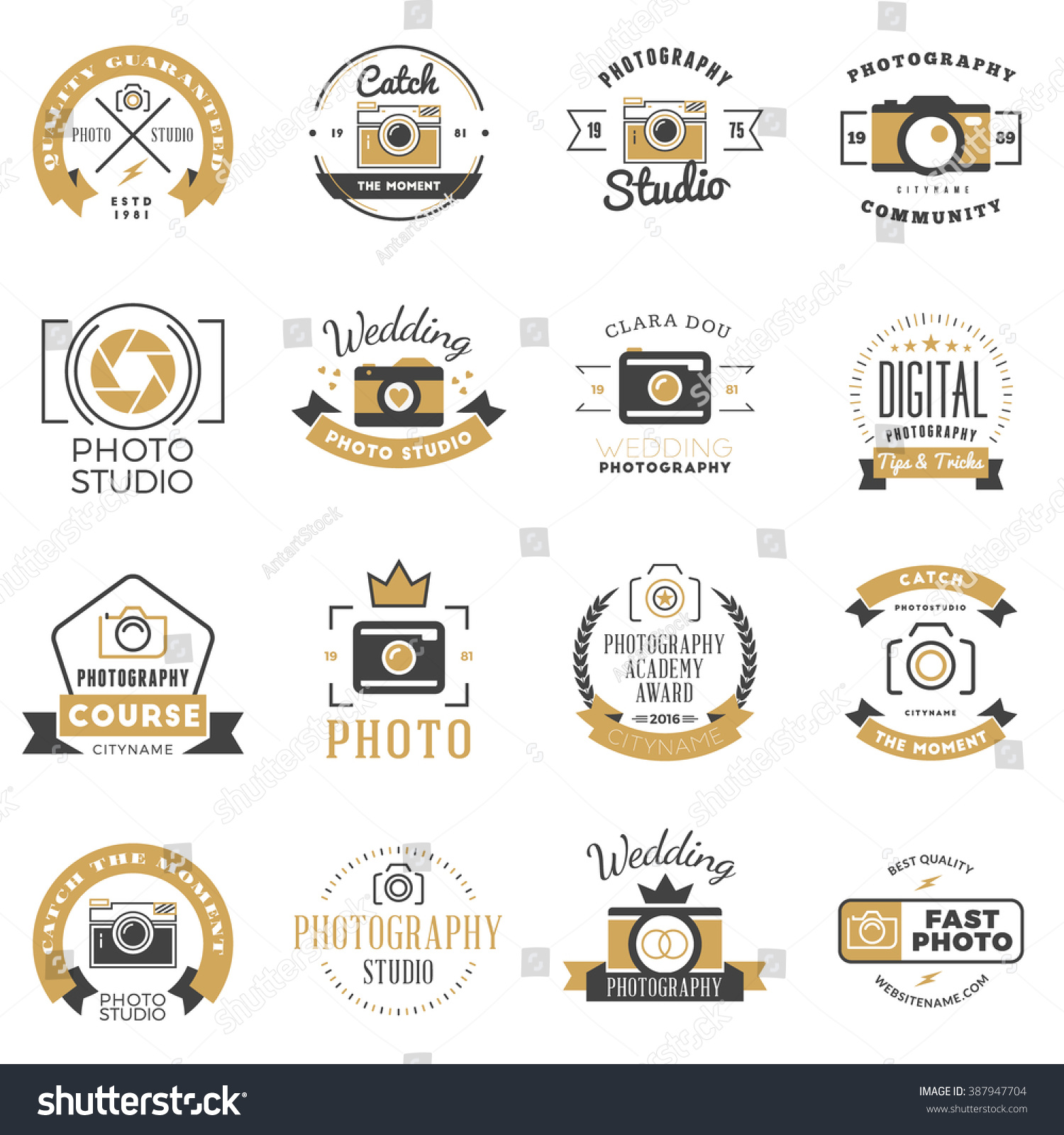 Wedding Photography Studio Logo: Set Photography Logo Design Templates Photography Stock
