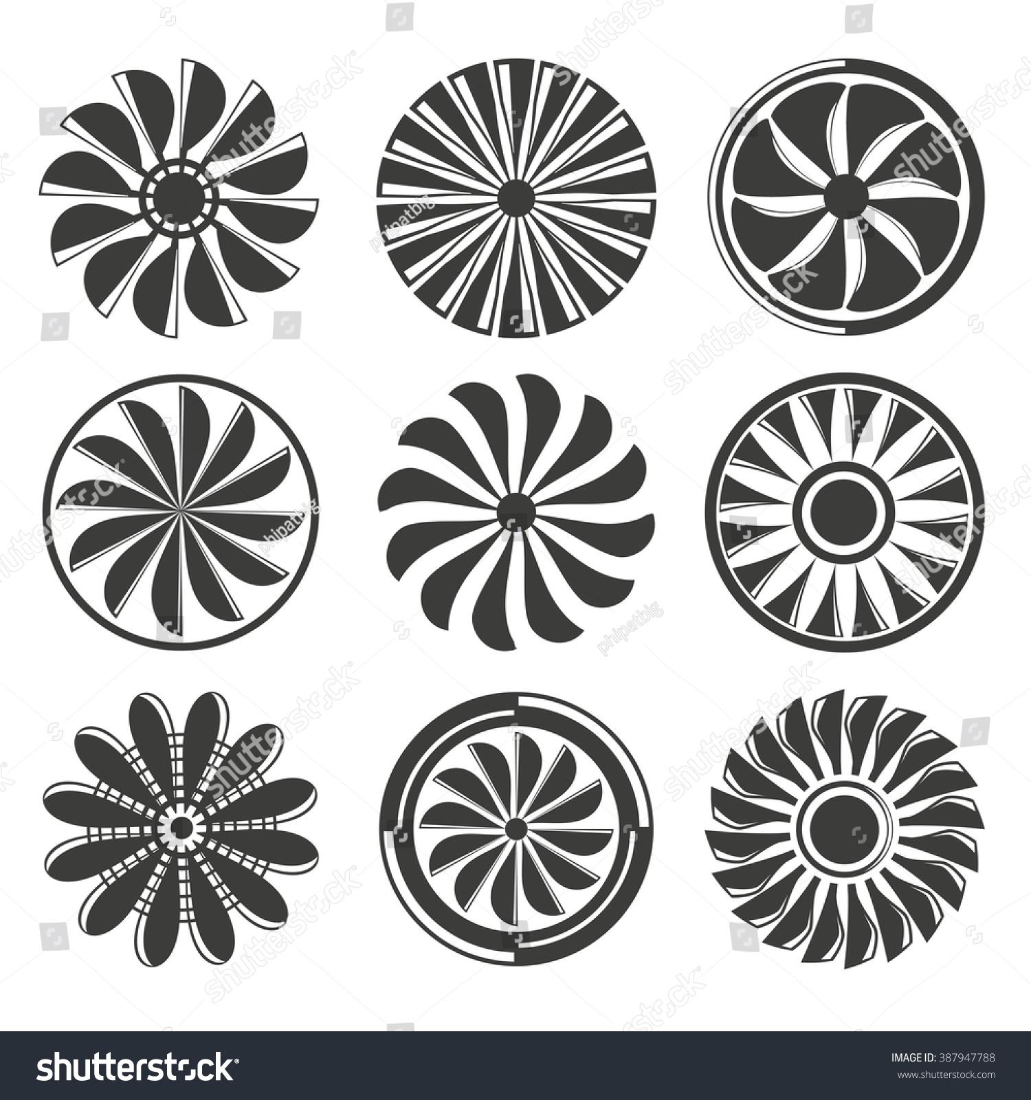 Fan Blade Outline : Jet engine icons set turbine stock vector