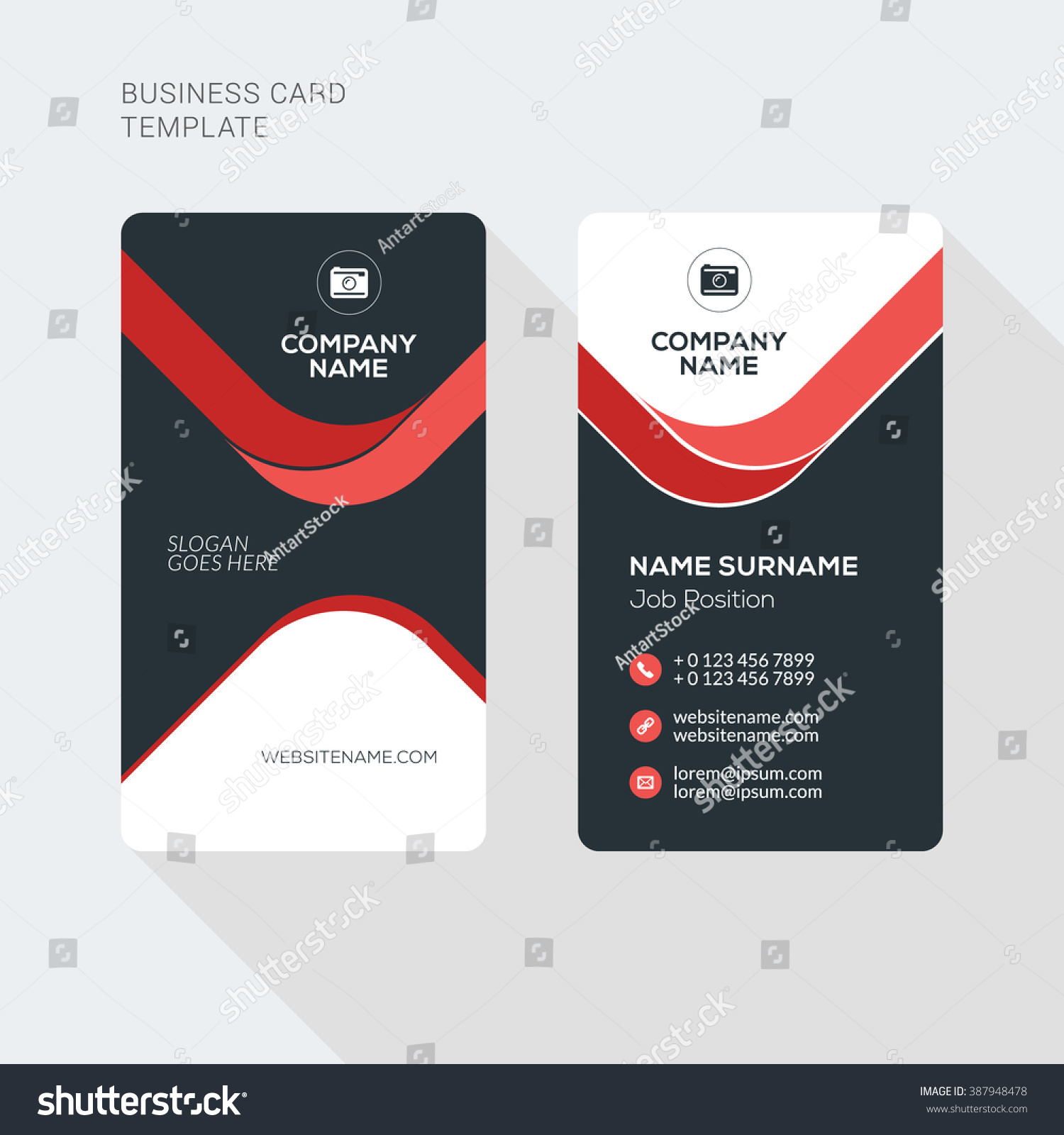 Creative Clean Business Card Vector Print Stock Vector - Horizontal business card template