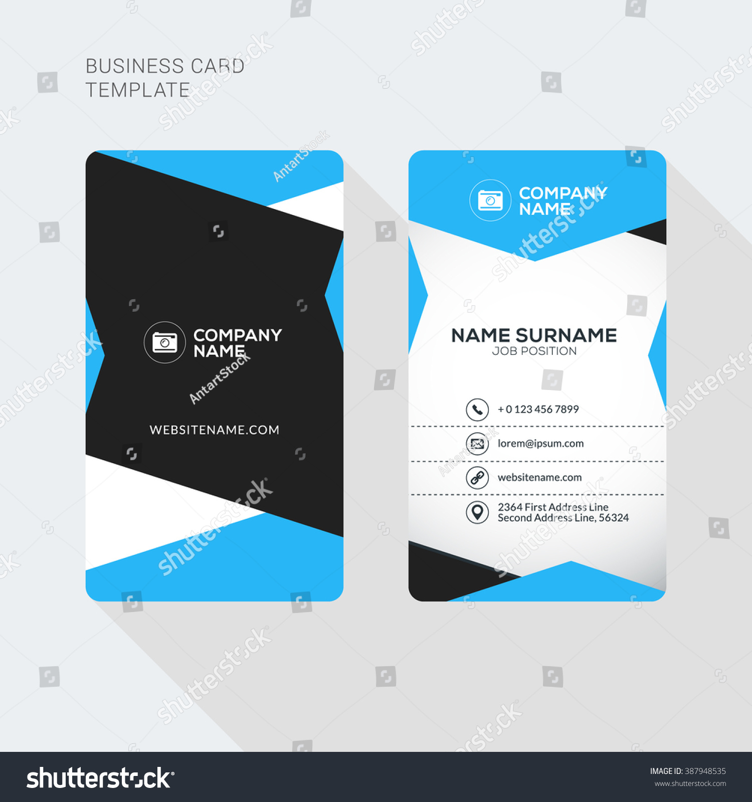Modern Creative and Clean Two Sided Business Card Template. Flat Style ...