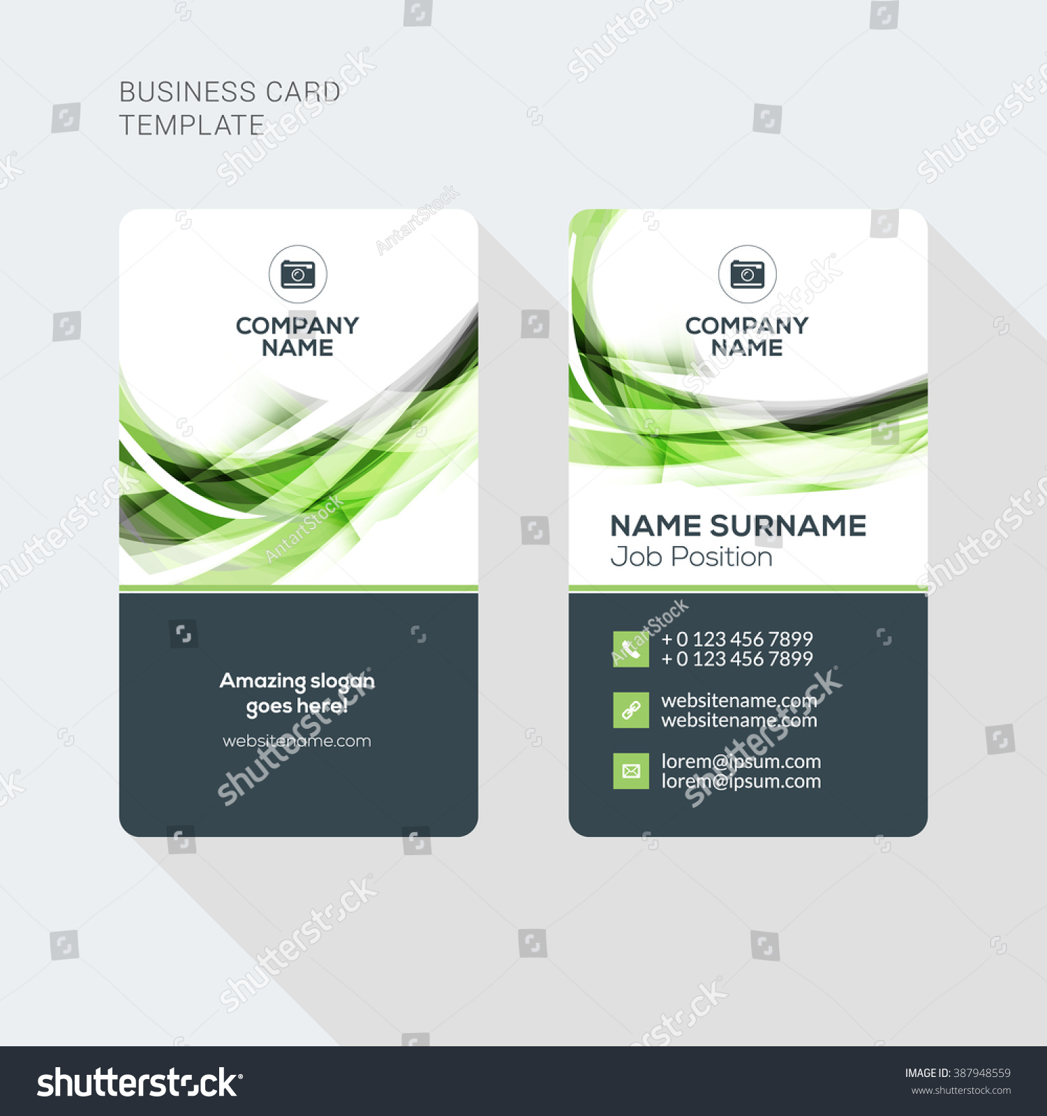 Modern creative clean two sided business stock vector 387948559 modern creative and clean two sided business card template flat style vector illustration vertical wajeb Images