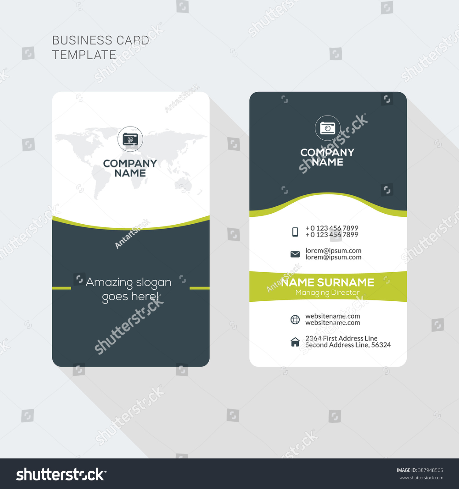 Modern creative clean two sided business stock vector 2018 modern creative and clean two sided business card template flat style vector illustration vertical cheaphphosting Gallery