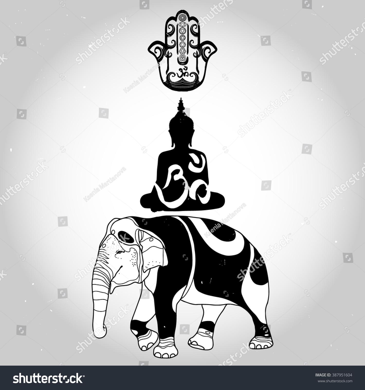 Sitting Buddha Om Symbol Hand Fatima Stock Vector Royalty Free
