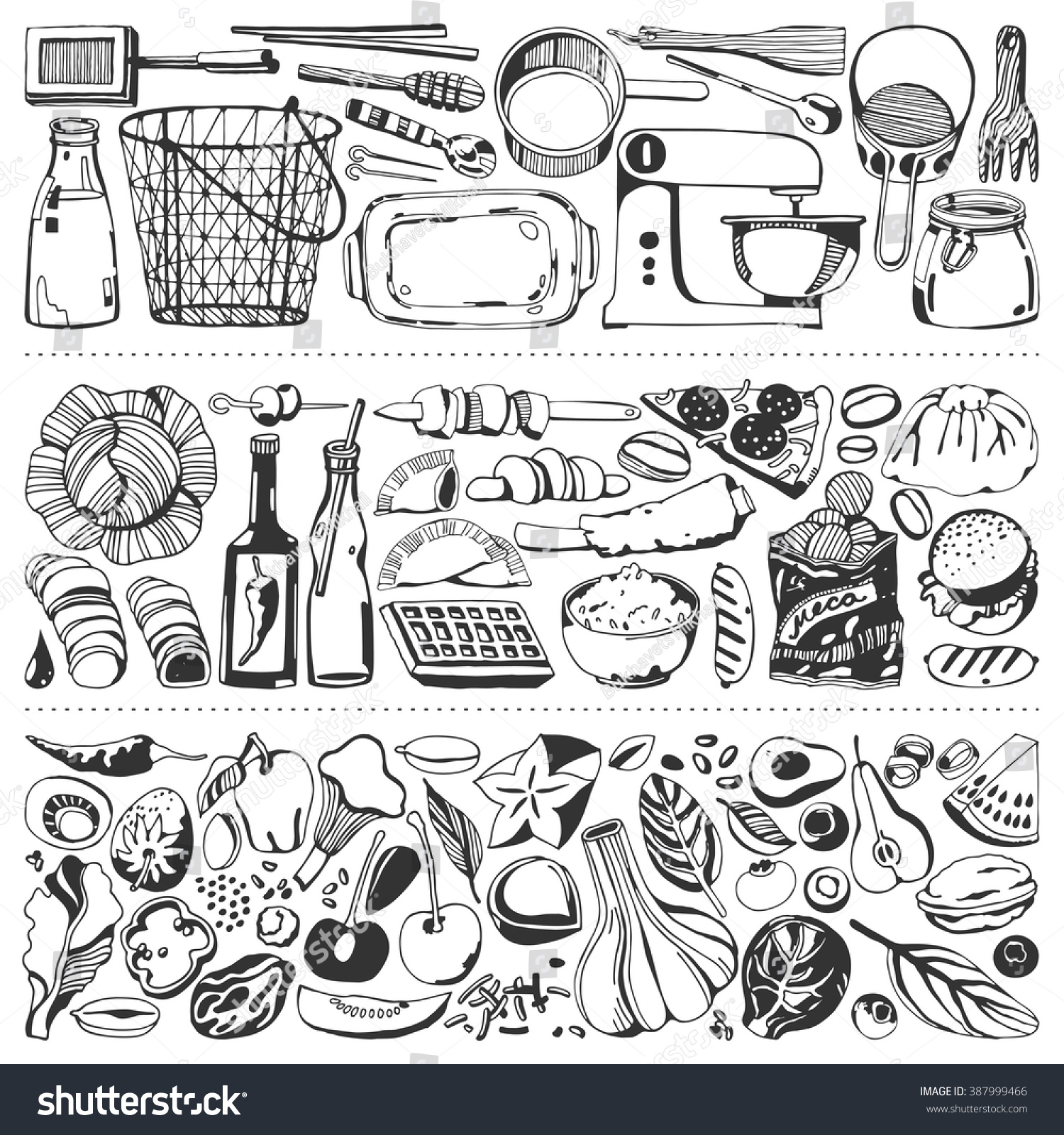 Kitchen tools drawing - Food Flyer Set Kitchen Tools Vegetables Food