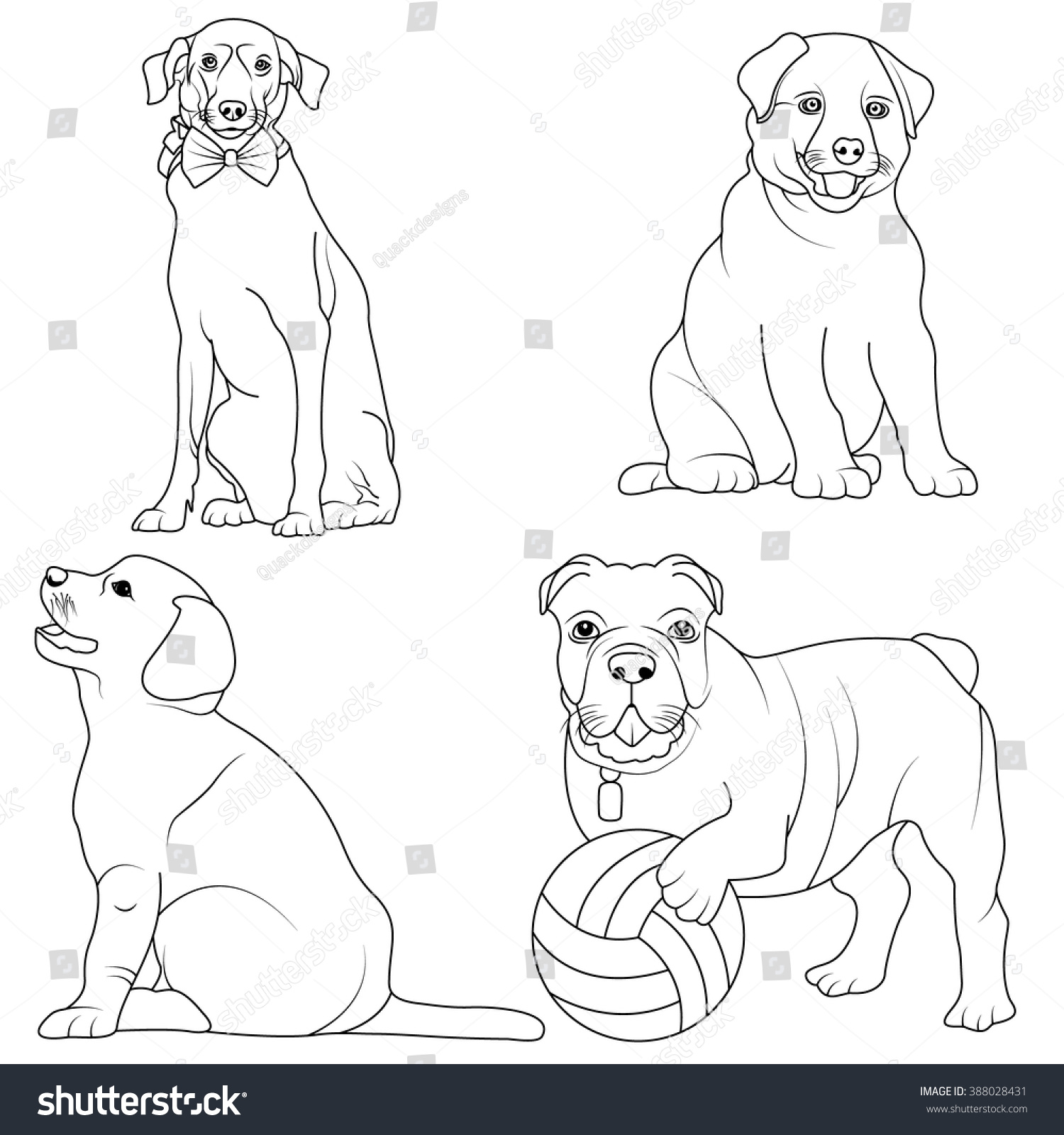 set 4 dogs coloring page black stock vector 388028431 shutterstock