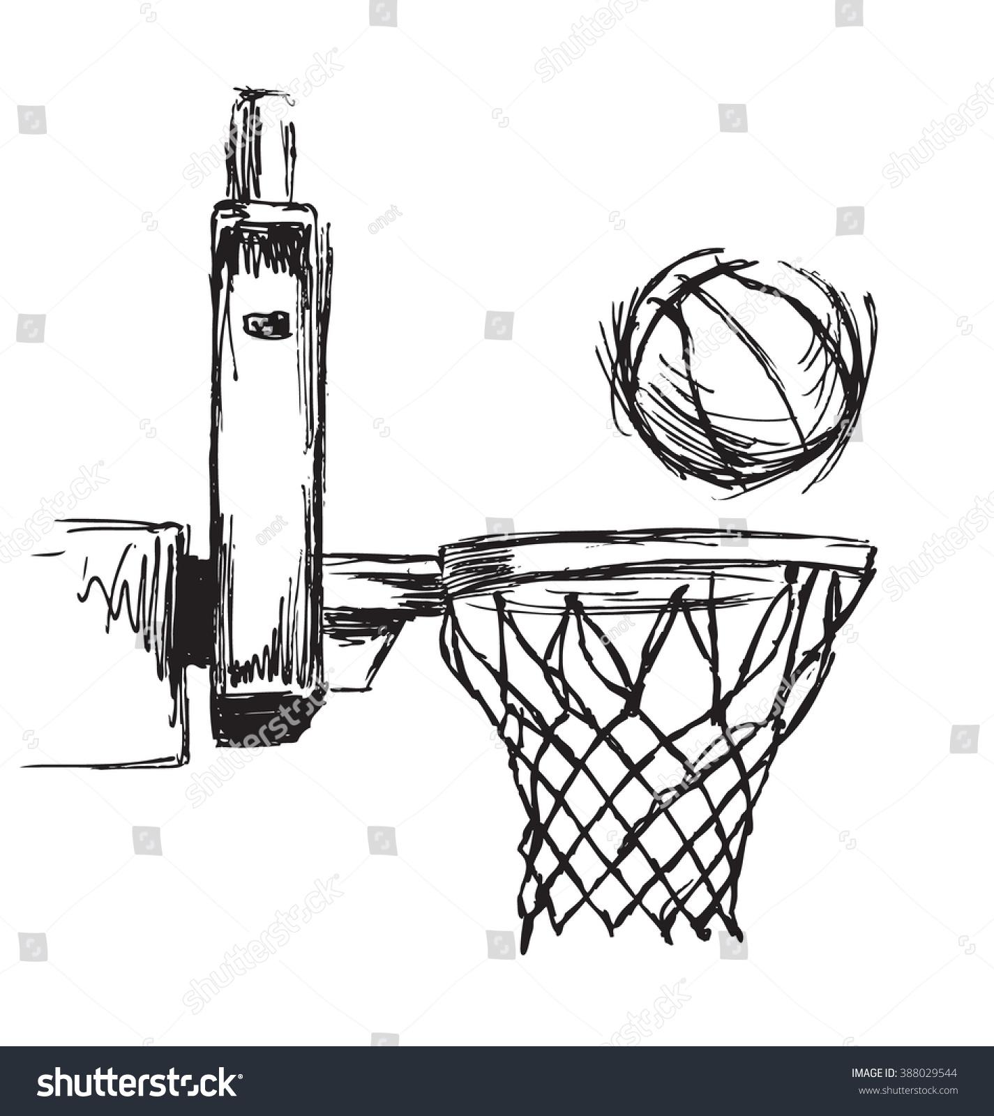 Hand Sketch Basketball Hoop And Ball Stock Vector Illustration 388029544  Shutterstock