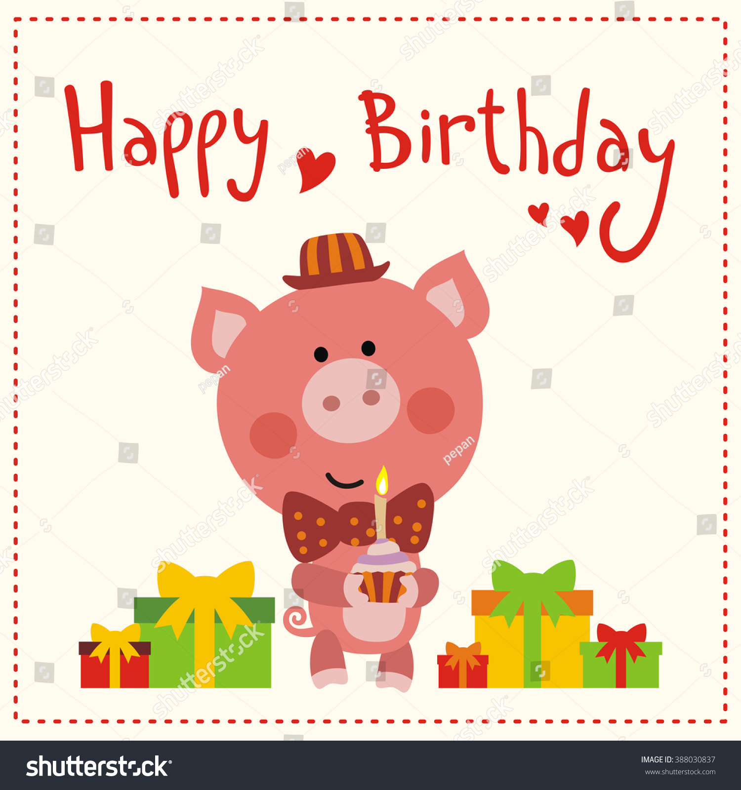Happy Birthday Cute Little Pig Red Stock Vector 388030837 ...
