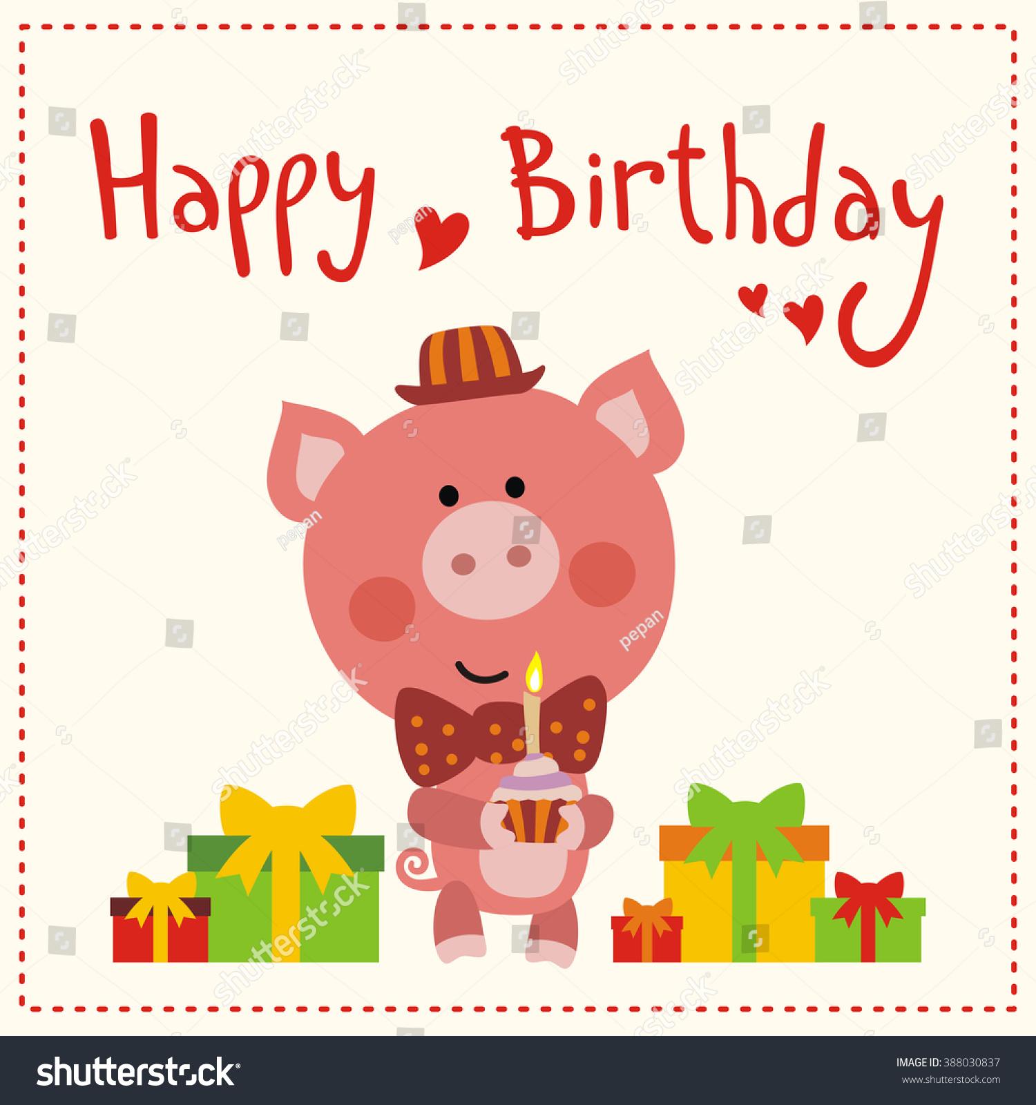 happy birthday cute little pig red stock vector, Birthday card