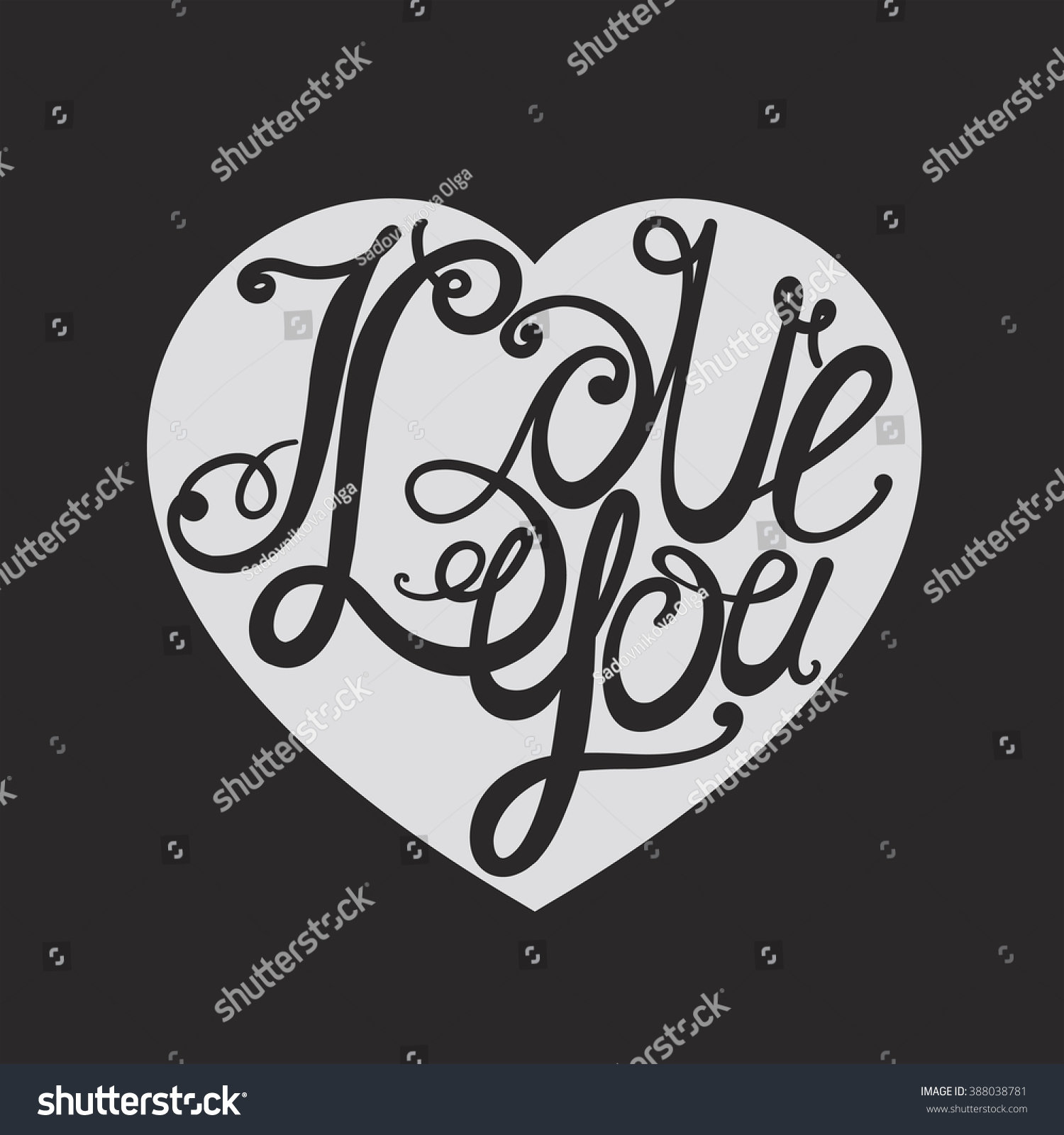 """Design lettering """"I love you """" Hand drawing an individual font"""
