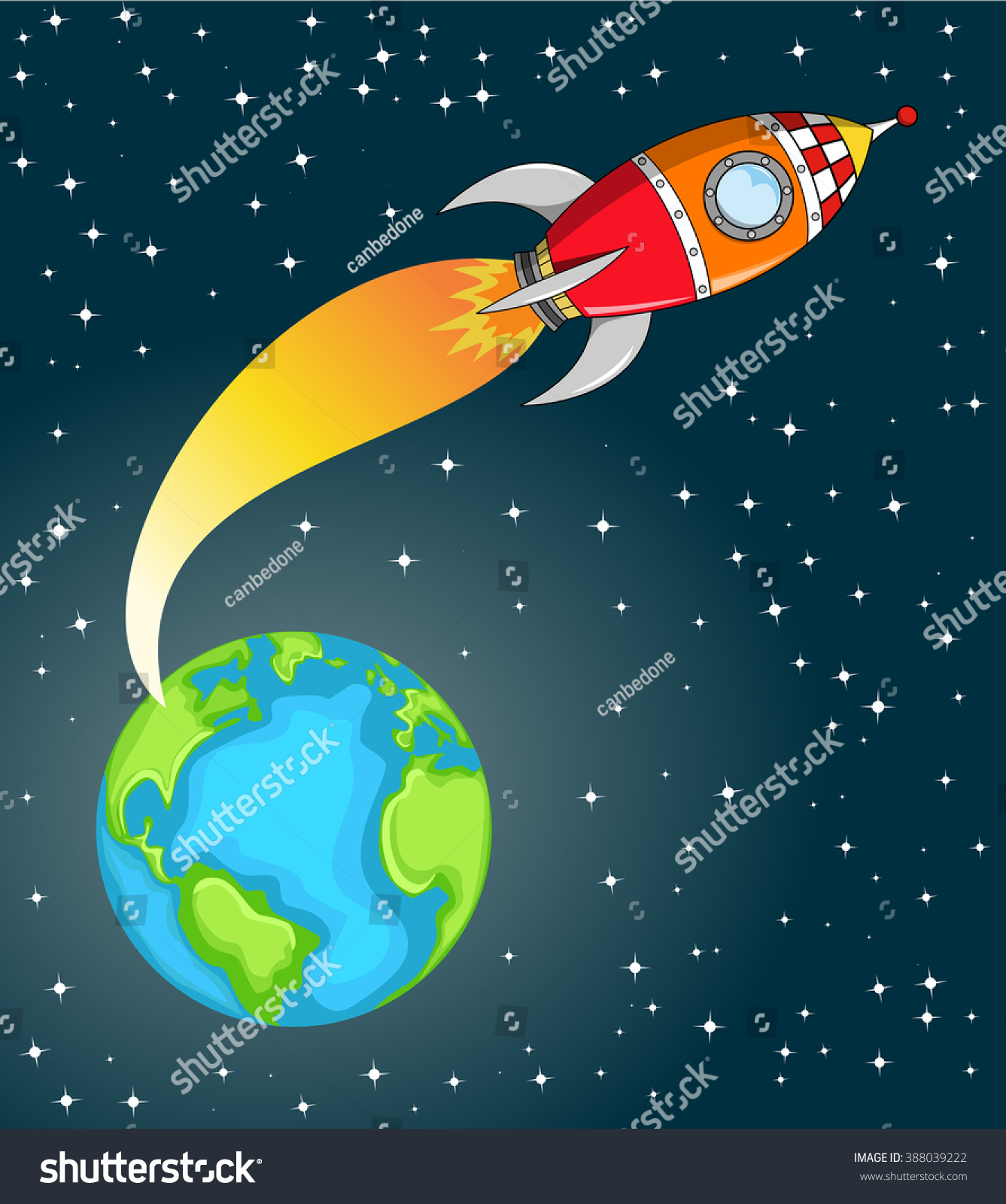 Cartoon space rocket flying space out stock vector for Flying spaces