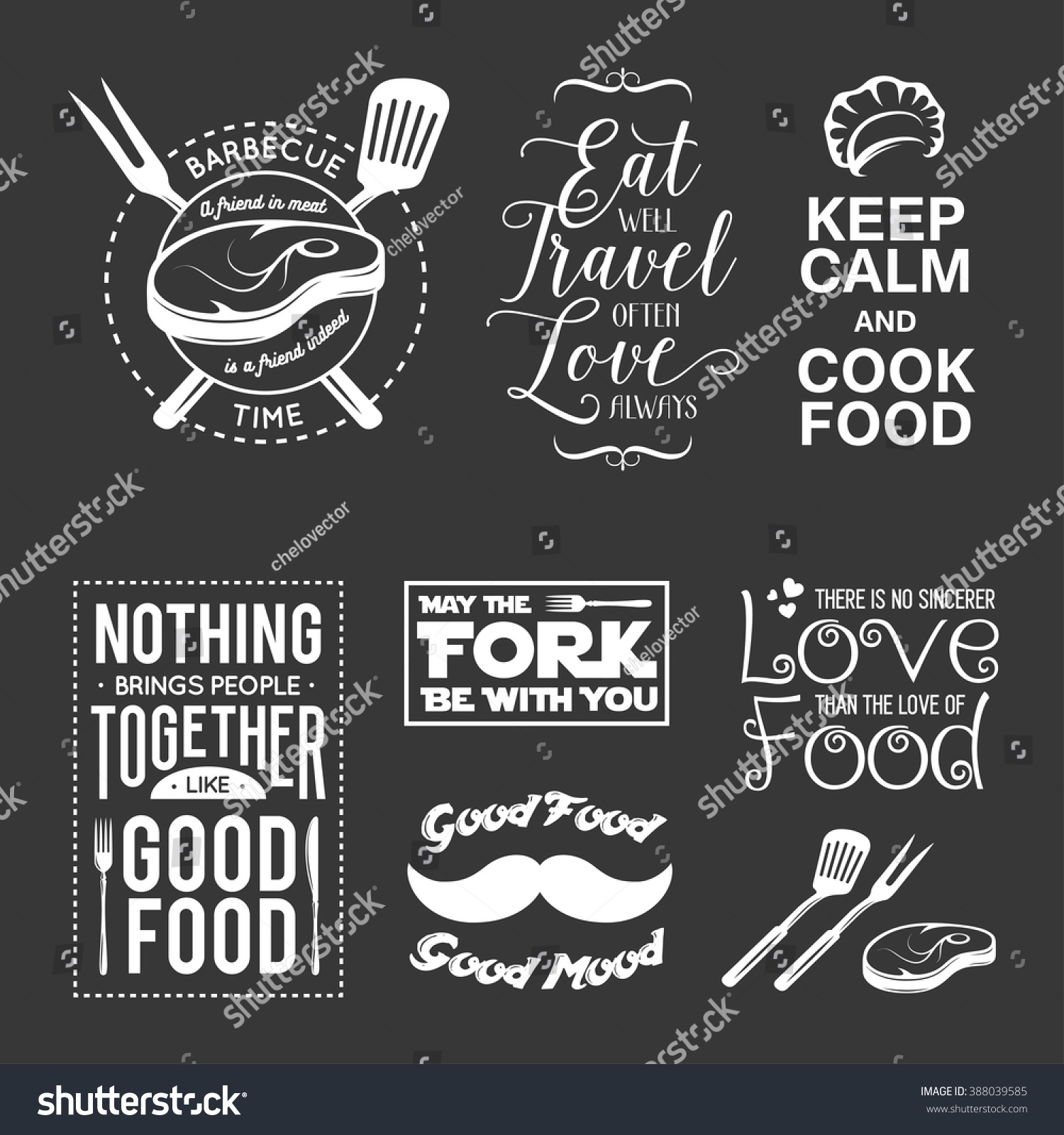 Set of vintage food related typographic quotes Vector illustration Kitchen printable design elements