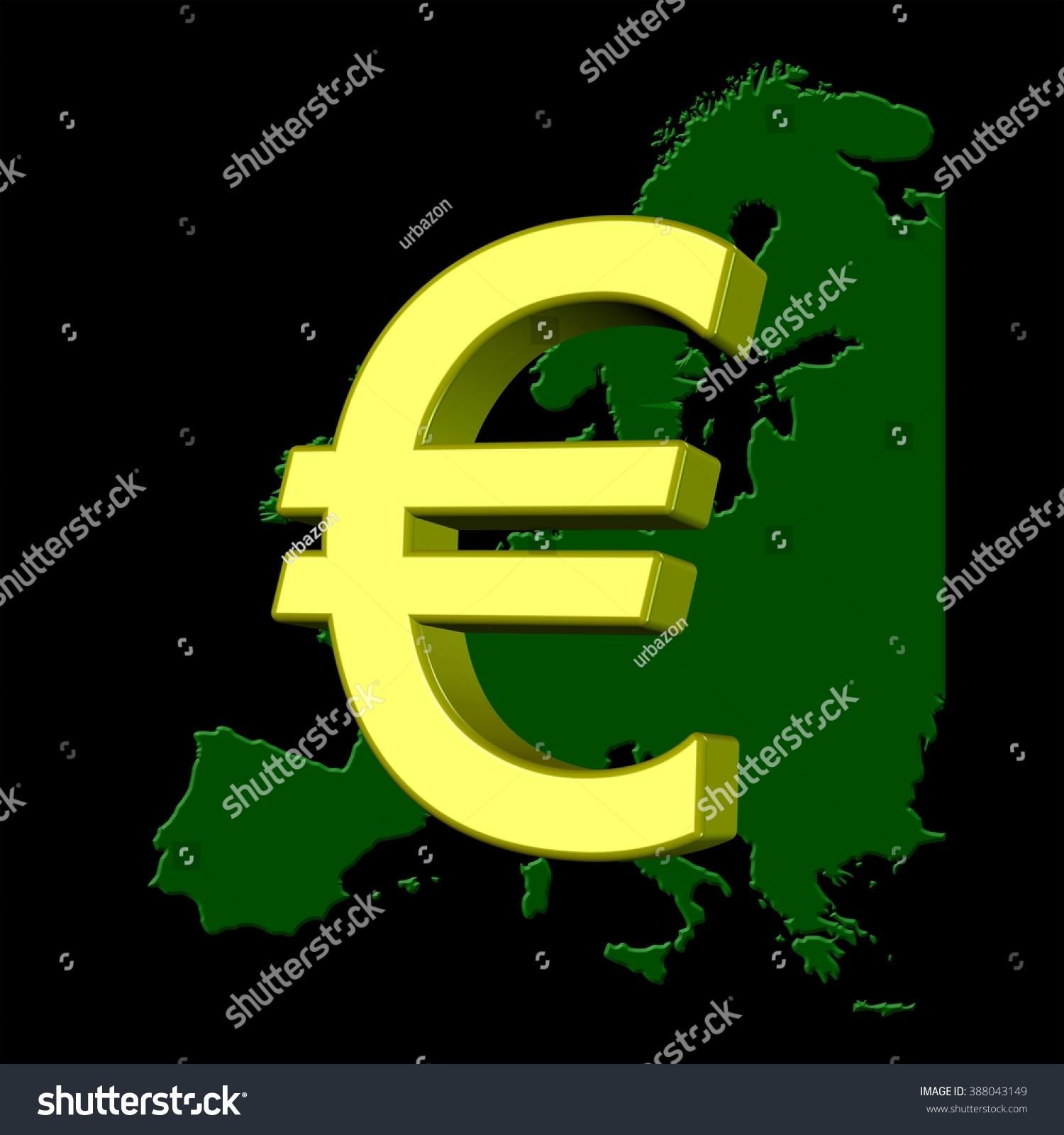 Golden 3 D Euro Currency Symbol Over Stock Illustration 388043149