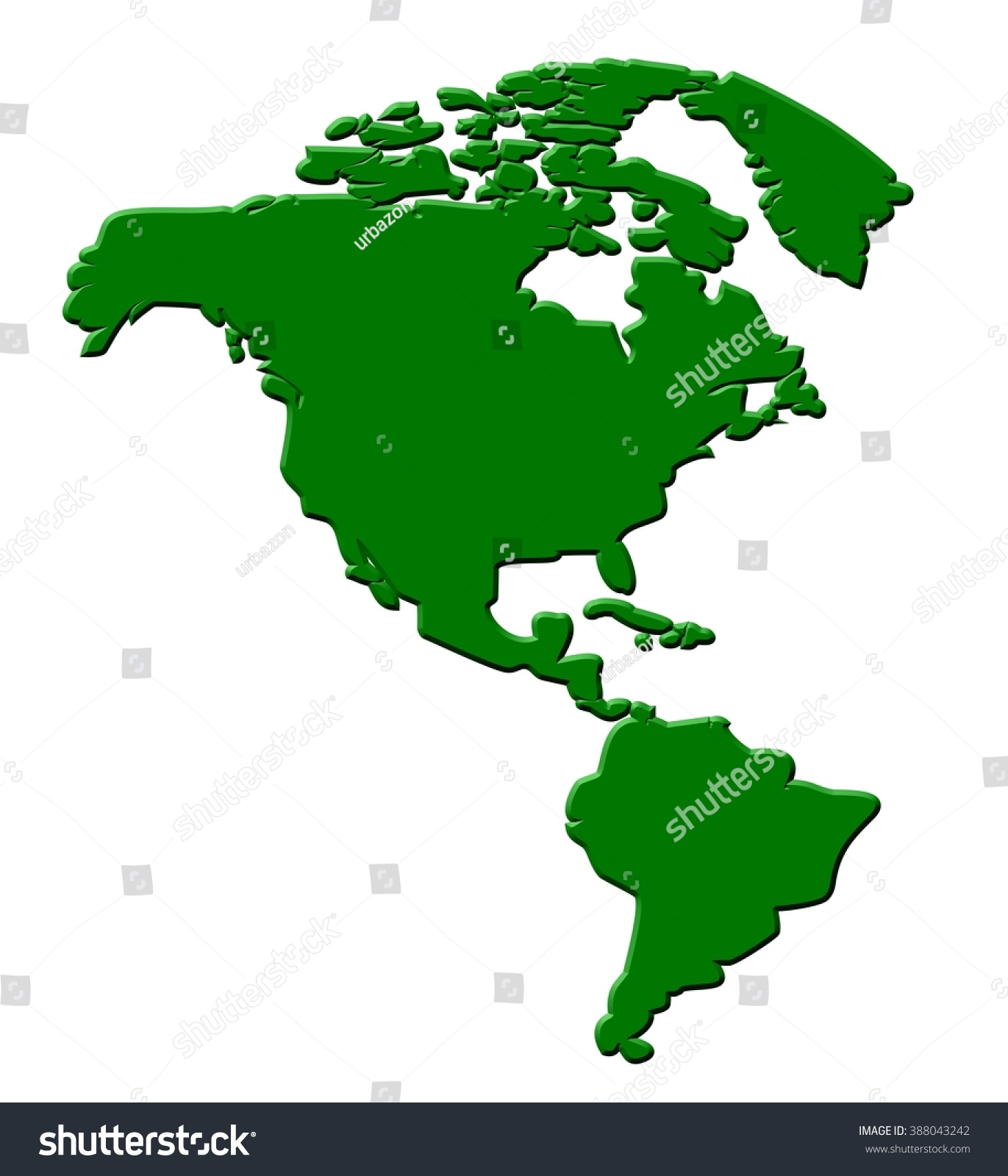 North South America Map Outline D Stock Illustration - South america map outline