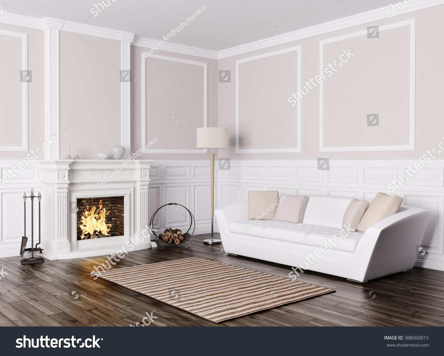 Classic Interior Design Of Living Room With White Sofa And Fireplace 3d  Render Part 85