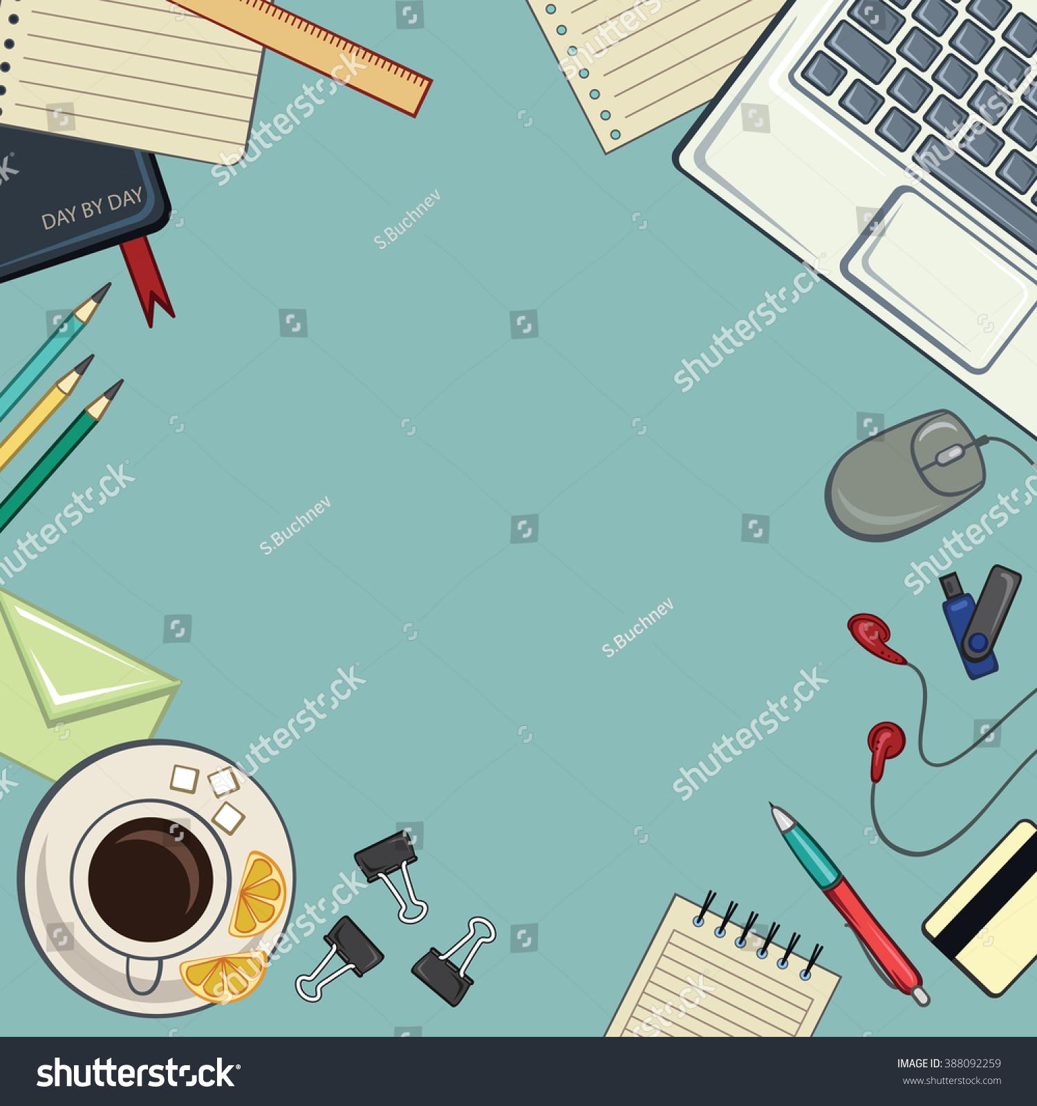 Desktop Background Retro Desktop Desktop Accessories Stock Vector Royalty Free 388092259