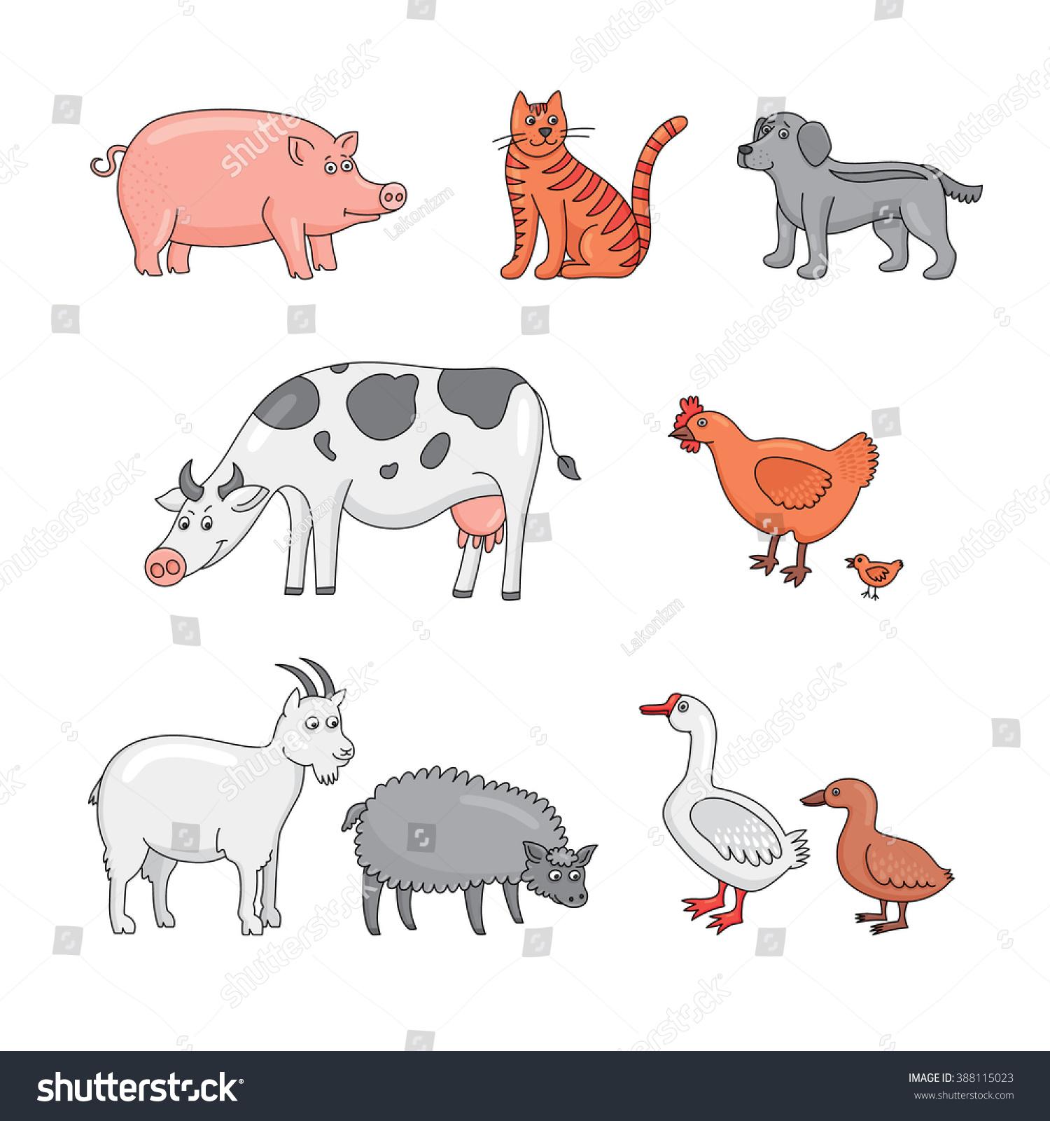 Agri cultures project logo duckdog design - Farm Animals Cow Pig Goat Sheep Cat Dog Duck
