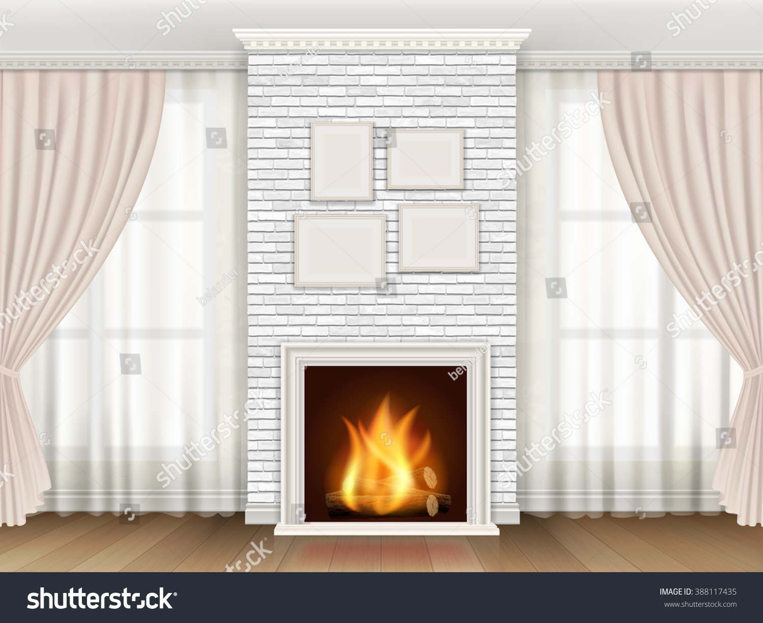 classic interior white brick fireplace windows stock vector