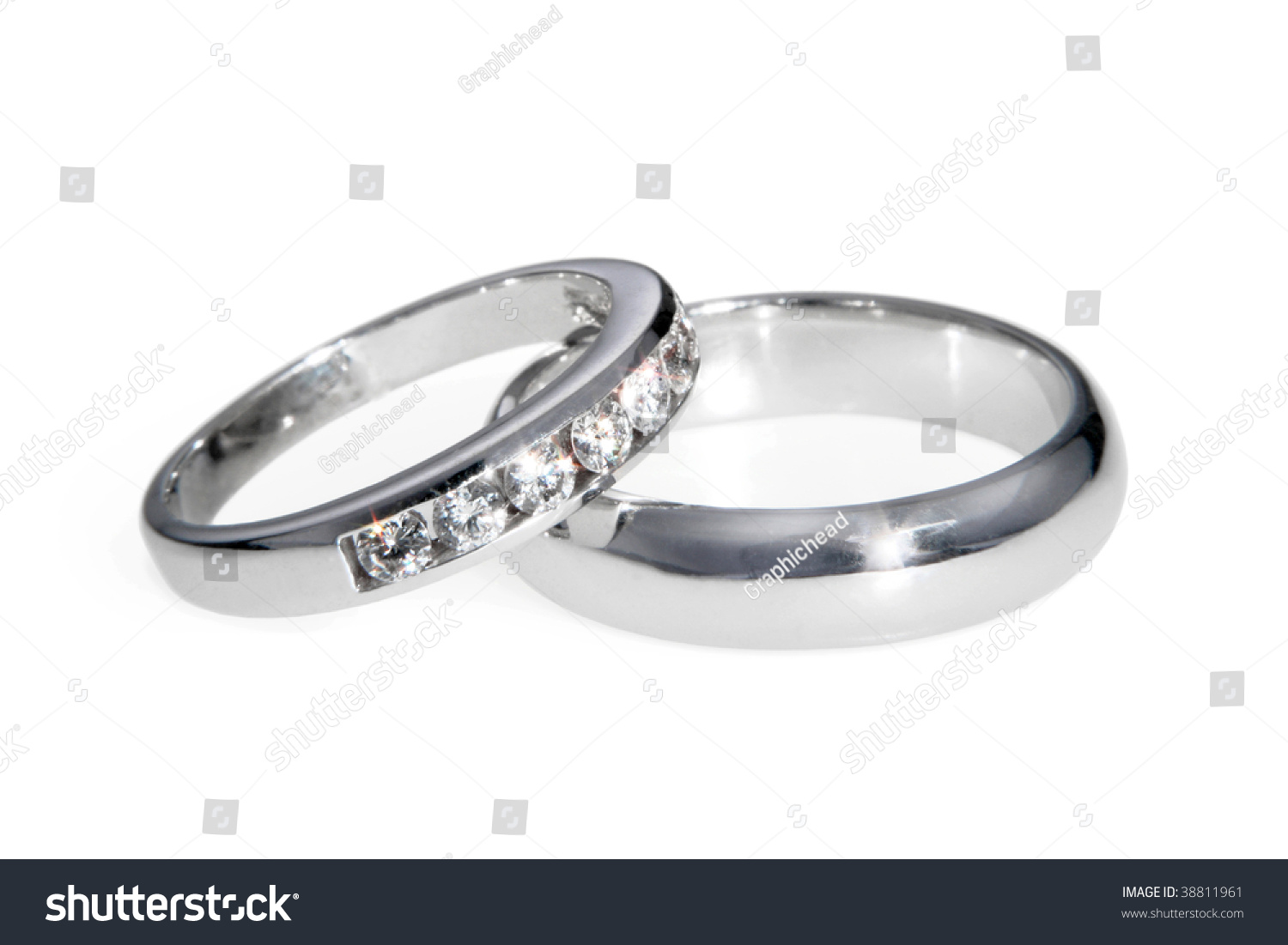 Diamond And White Gold Bride And Groom Wedding Bands (Rings), Isolated On White. Stock Photo