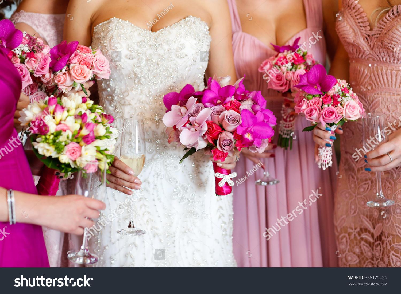 Bride Bridesmaids Holding Beautiful Flower Bouquet Stock Photo Edit