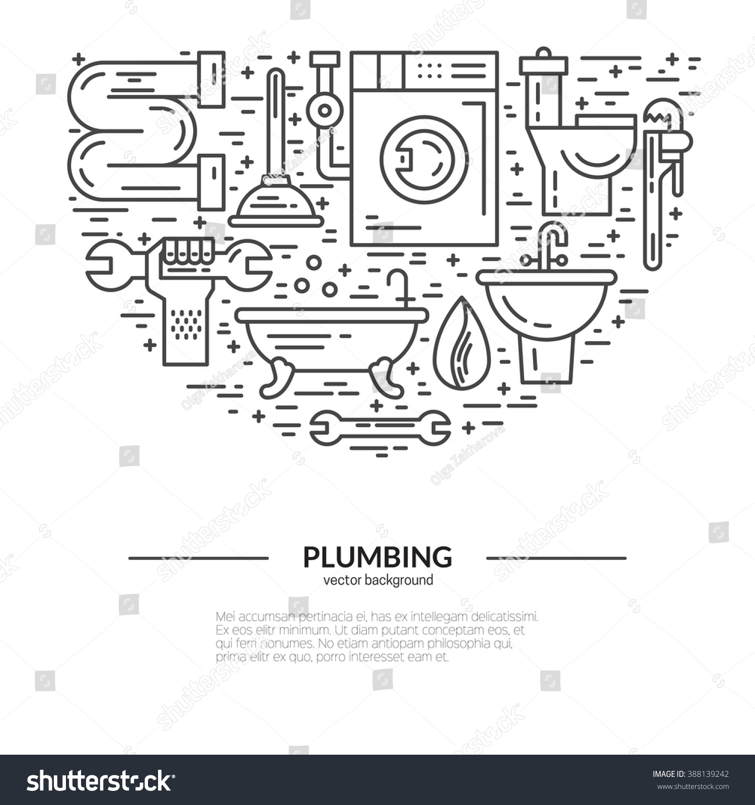 house plumbing concept line style vector stock vector 388139242