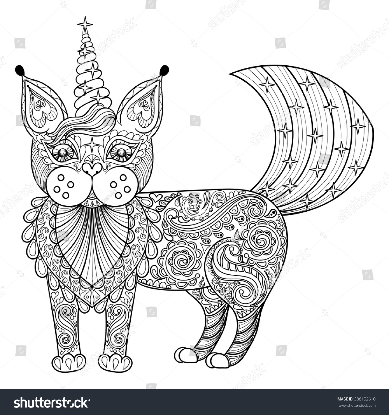 Coloring Pages For Adults Unicorns - Vector zentangle magic cat unicorn black print for adult anti stress coloring page hand